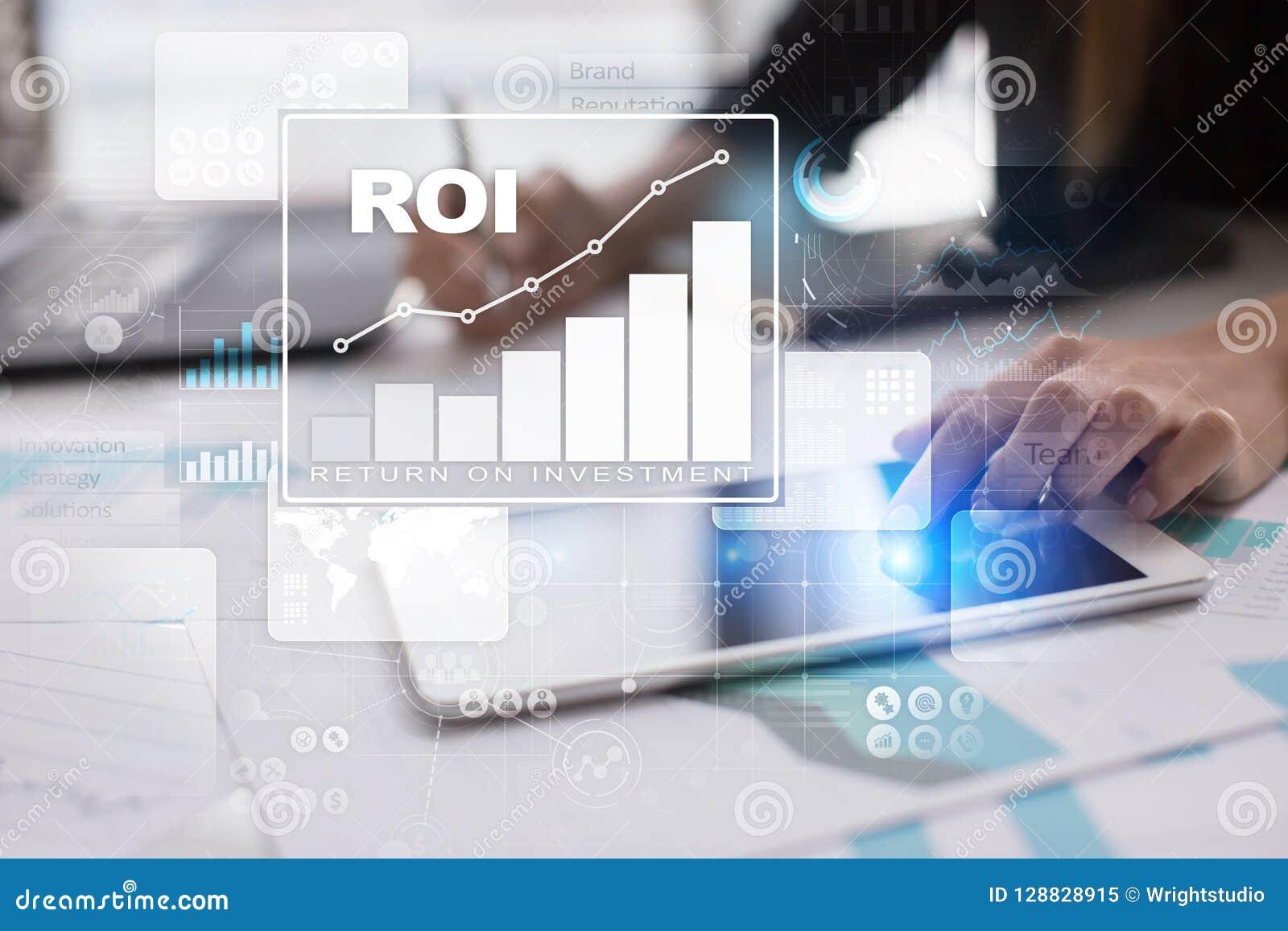 Диаграмма ROI, рентабельность инвестиций, фондовая биржа и торгуя дело и концепция интернета
