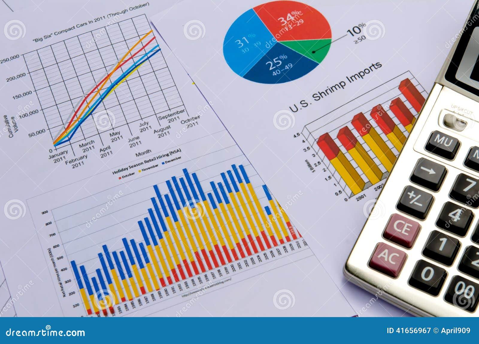 Диаграммы и диаграммы дела с калькулятором
