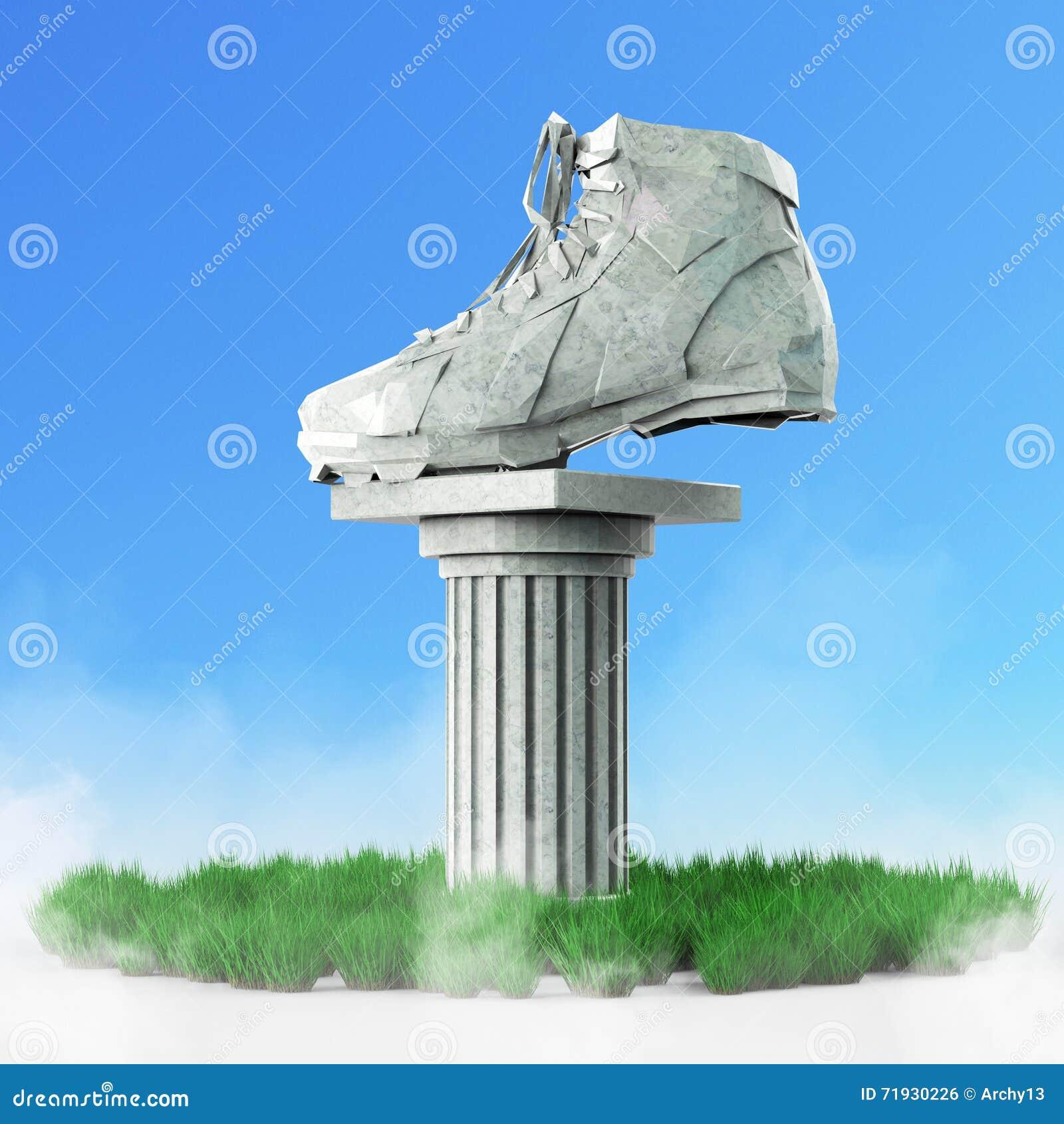 Диамант резвится ботинки, низкие поли тапки с трудными краями и сияющие стороны На мраморном постаменте штендера изолировано