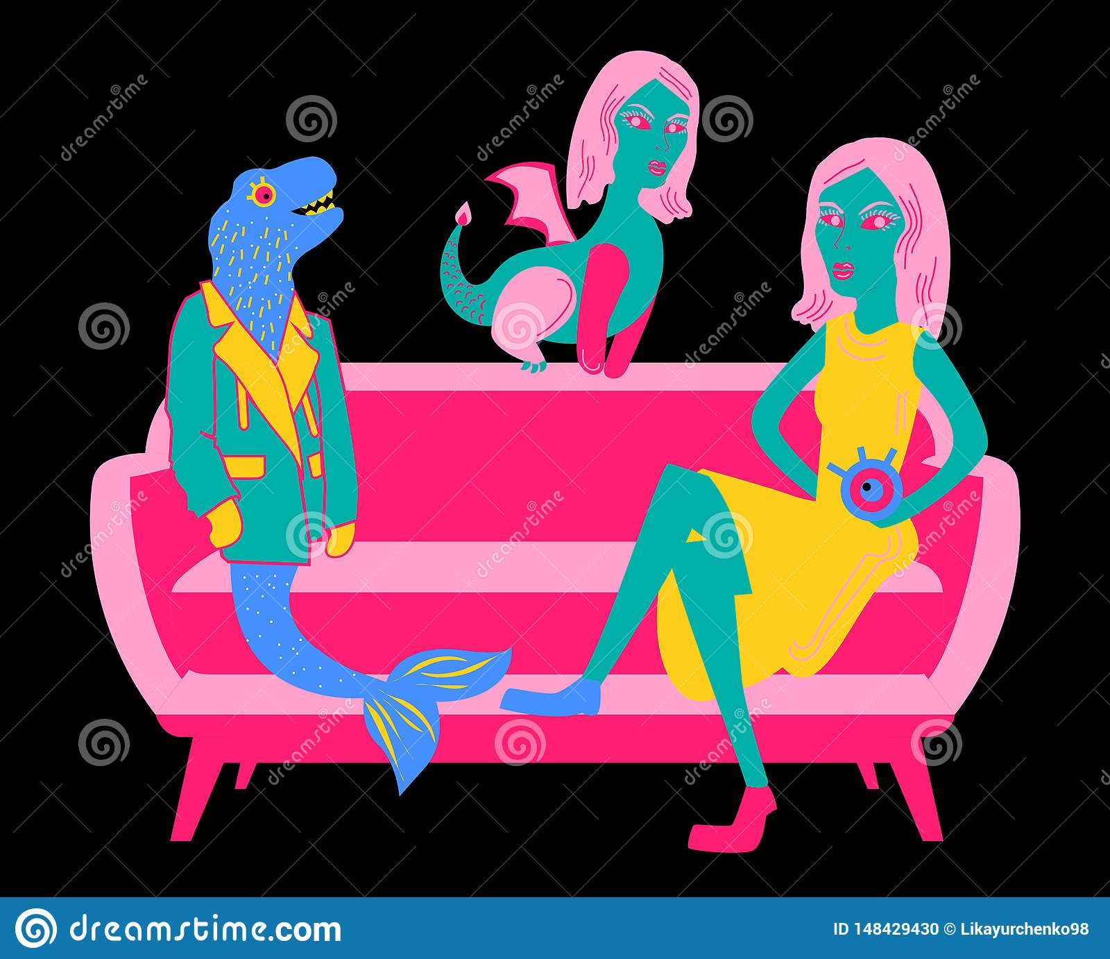 Illustration with a pink and crimson red sofa with a dinosaur in a blue-green jacket and a mermaid`s tail, a girl with a yellow sk