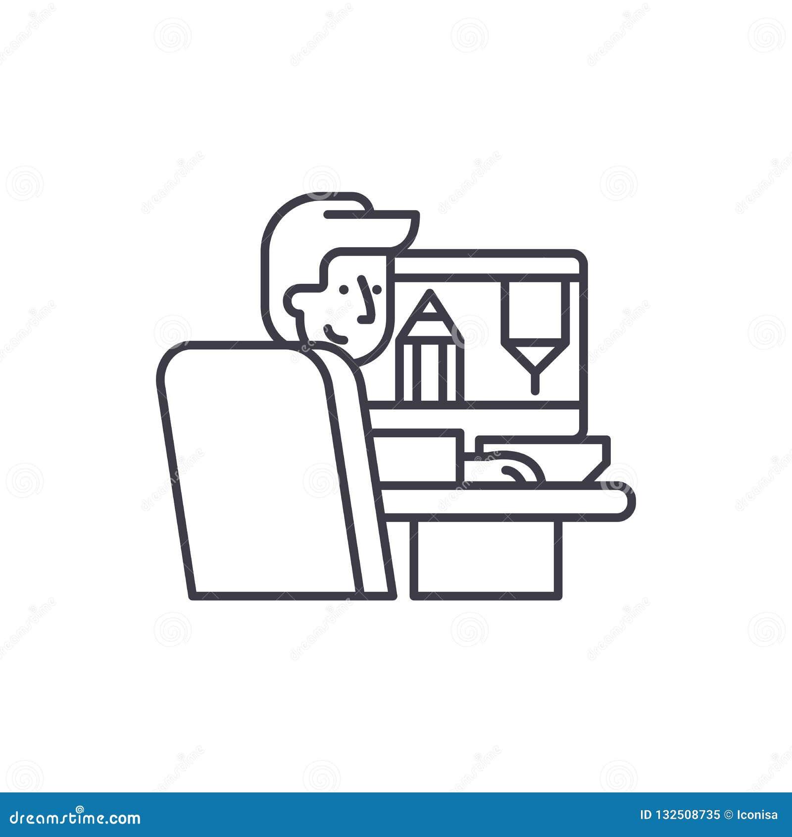 Дизайнер на линии концепции работы значка Дизайнер на иллюстрации вектора работы линейной, символе, знаке