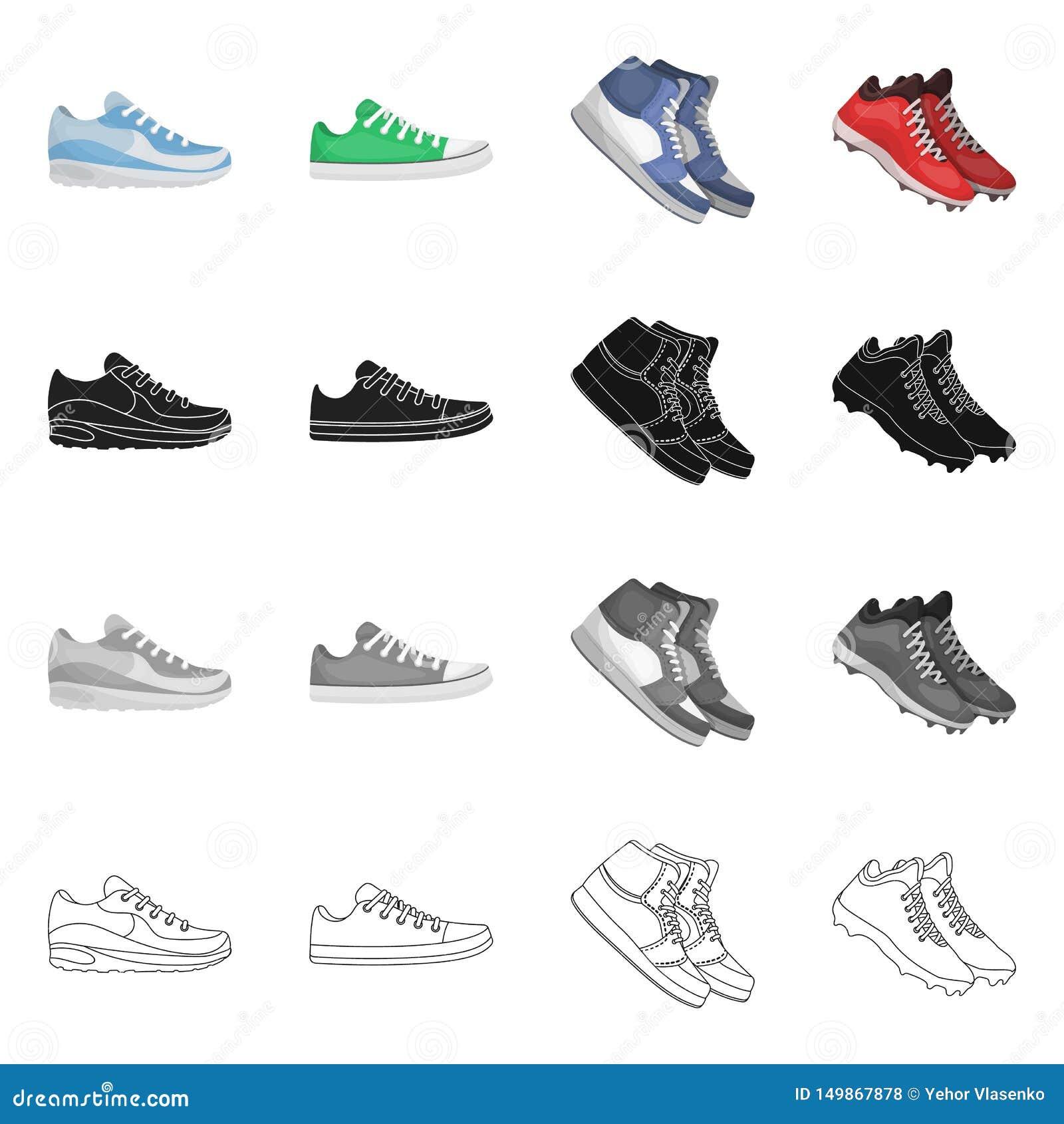 Дизайн вектора ботинка и знака спорта Установите ботинка и значка вектора фитнеса для запаса