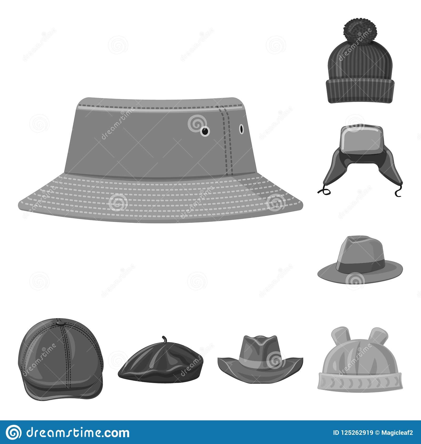 Дизайн вектора логотипа headwear и крышки Комплект иллюстрации вектора запаса headwear и аксессуара
