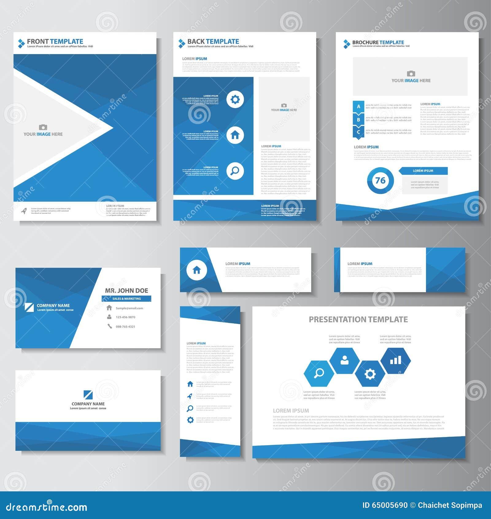Дизайн голубых элементов Infographic шаблона карточки представления листовки рогульки брошюры дела плоский установил для маркетин