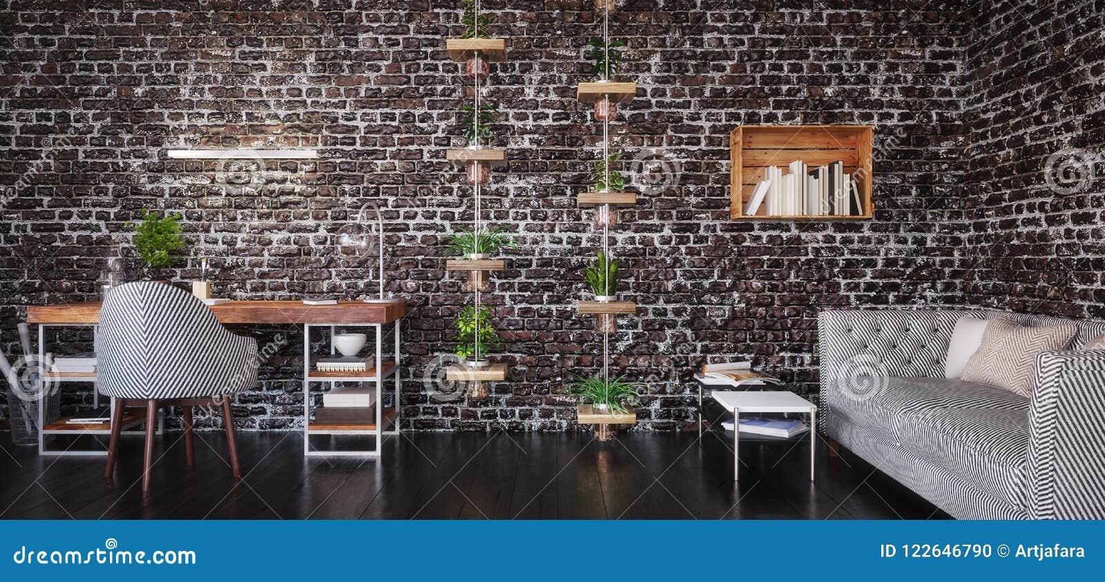 Дизайн домашнего офиса, современная комната места для работы