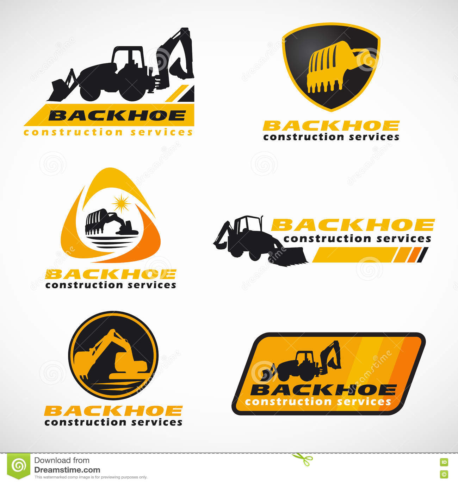 Дизайн желтого и черного вектора логотипа обслуживания конструкции Backhoe установленный