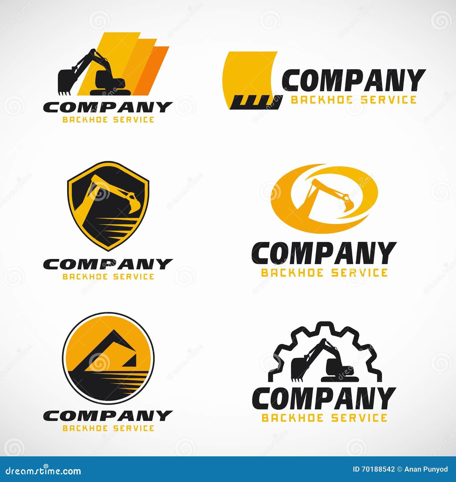 Дизайн желтого и черного вектора логотипа обслуживания Backhoe установленный