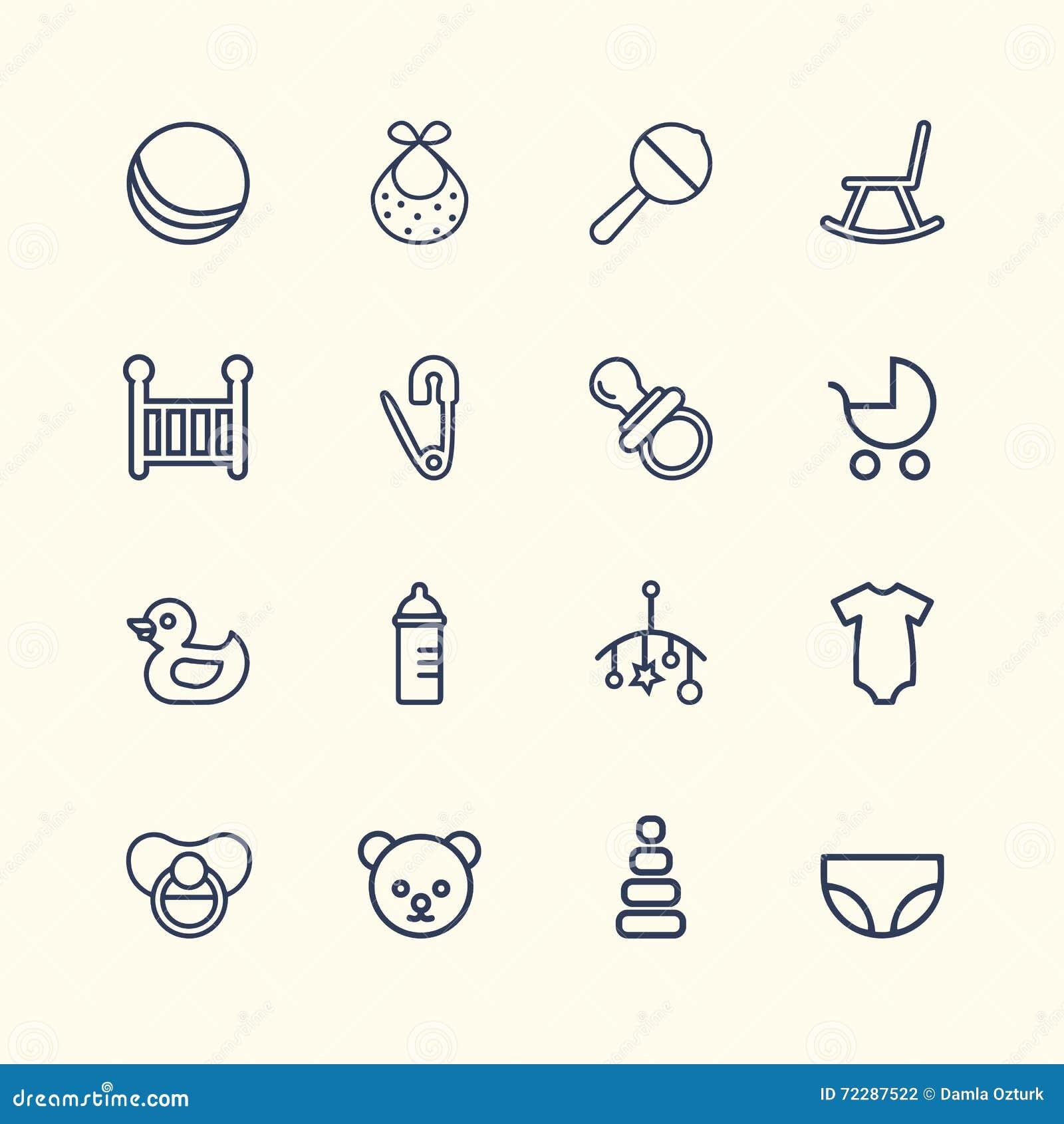Download Дизайн значка младенца установленный Стоковое Фото - изображение насчитывающей самомоднейше, ново: 72287522