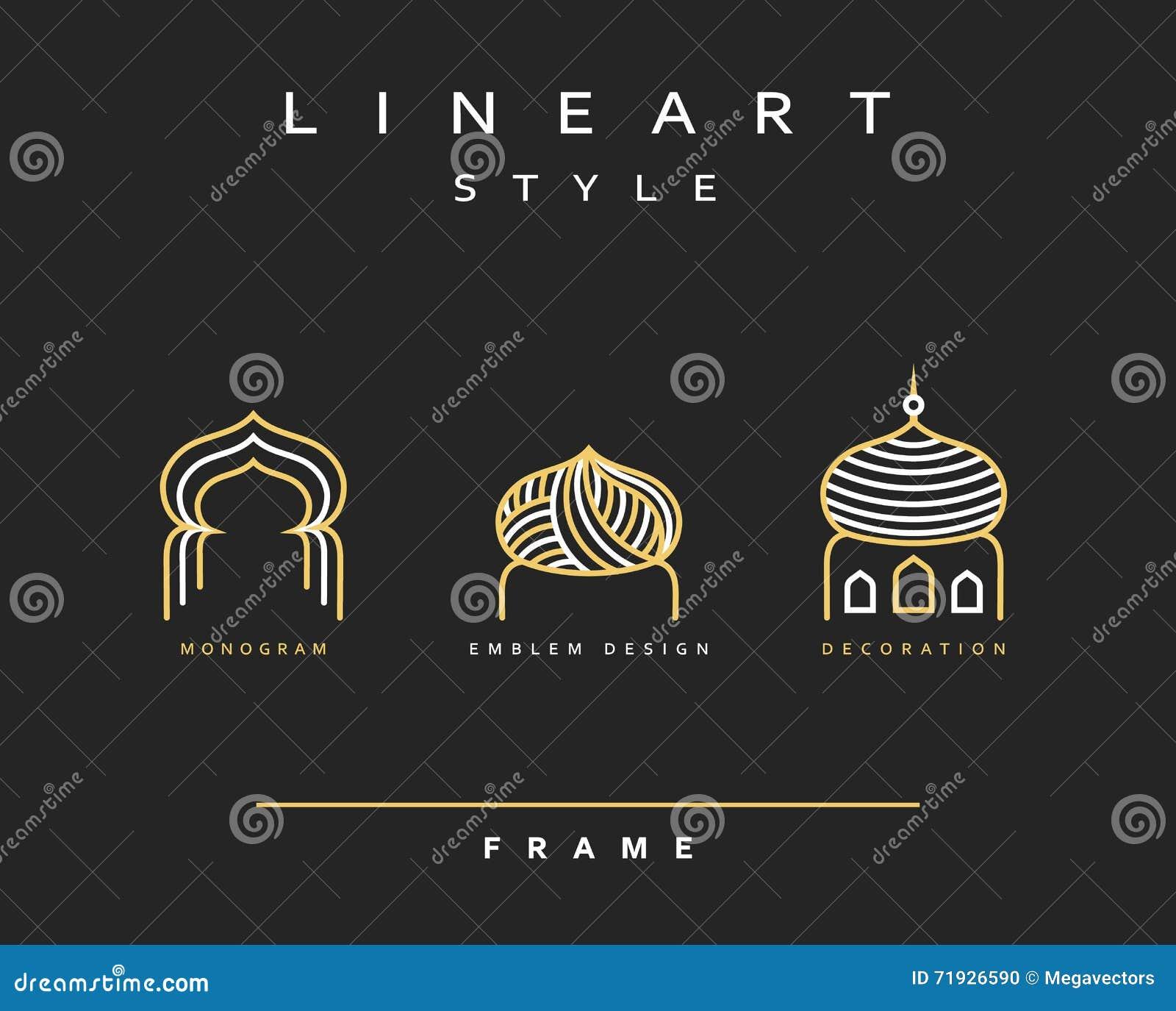 Дизайн значка для праздновать линию искусство Рамазана Kareem