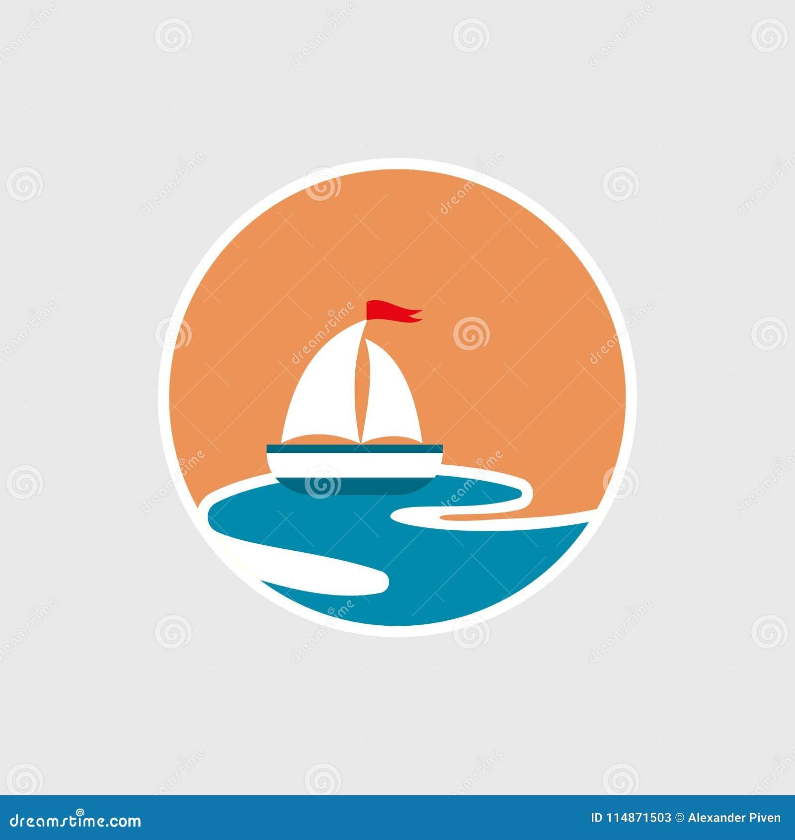 Дизайн значков парусника и яхты на волнах Круиз, путешествие, концепция поставки, морская шлюпка Знак транспорта