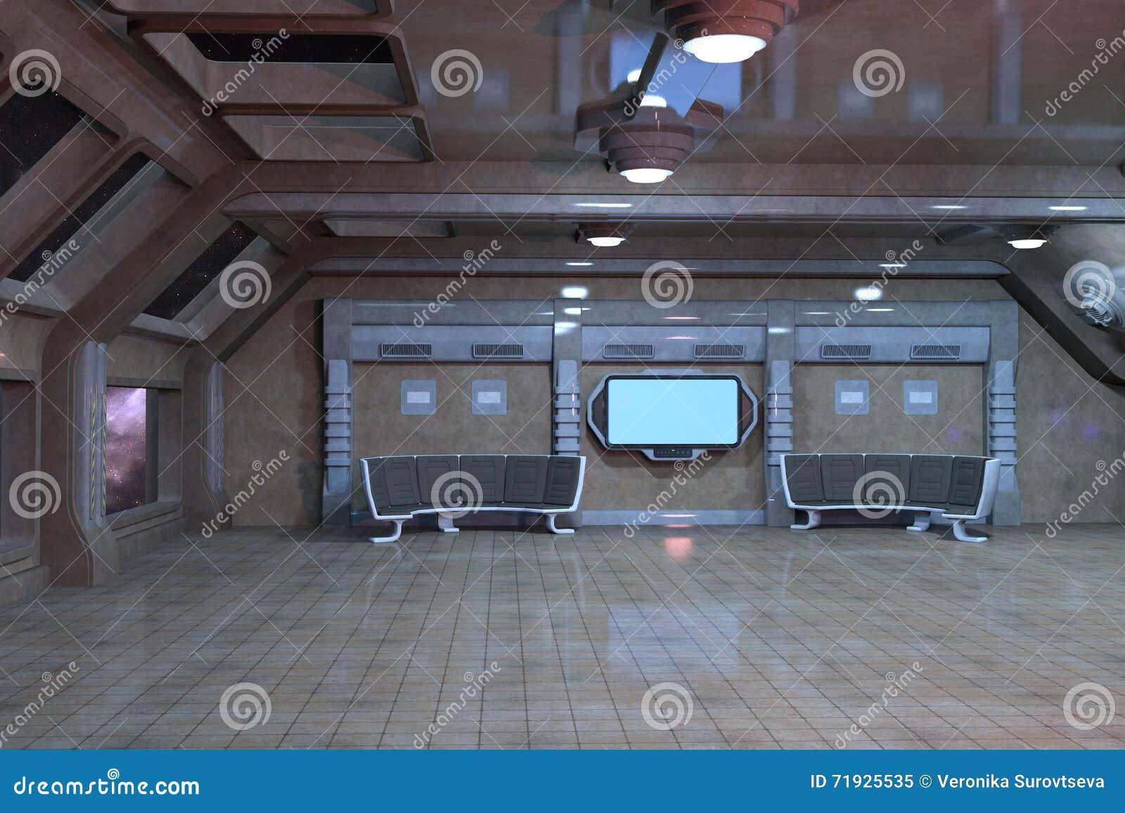 Дизайн интерьера комнаты палубы научной фантастики