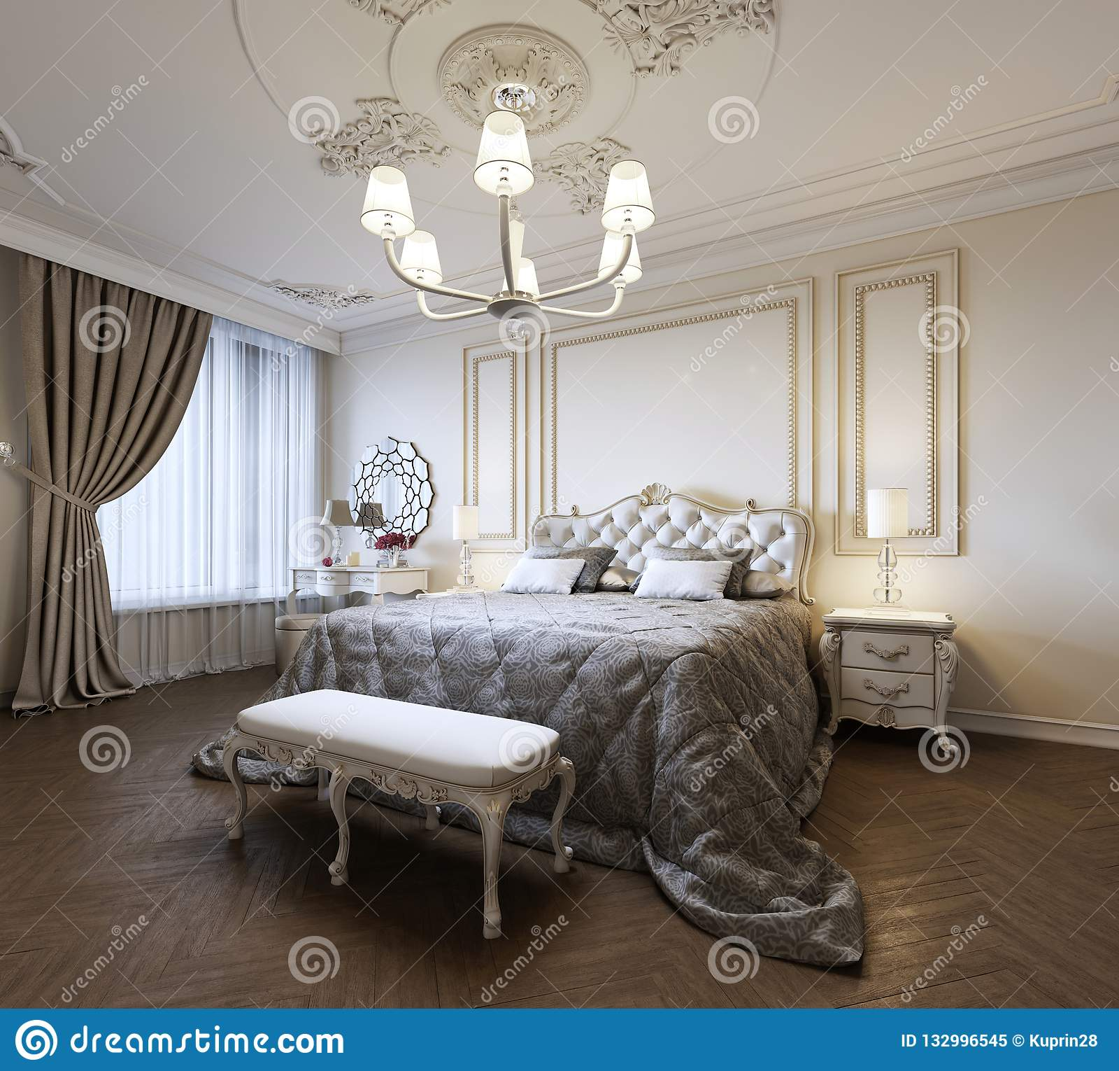 Дизайн интерьера спальни городской современной современной классики традиционный с бежевыми стенами, элегантной мебелью и постель