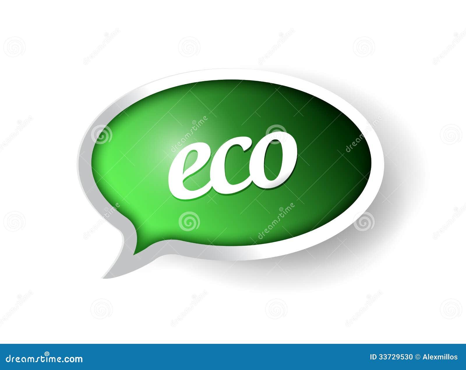 Дизайн иллюстрации пузыря сообщения Eco