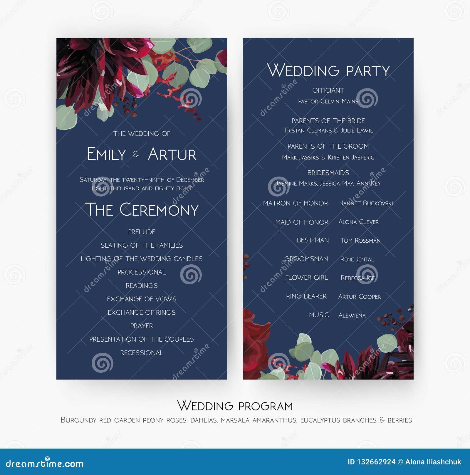 Дизайн карты программы свадебного банкета & церемонии с flowe красной розы