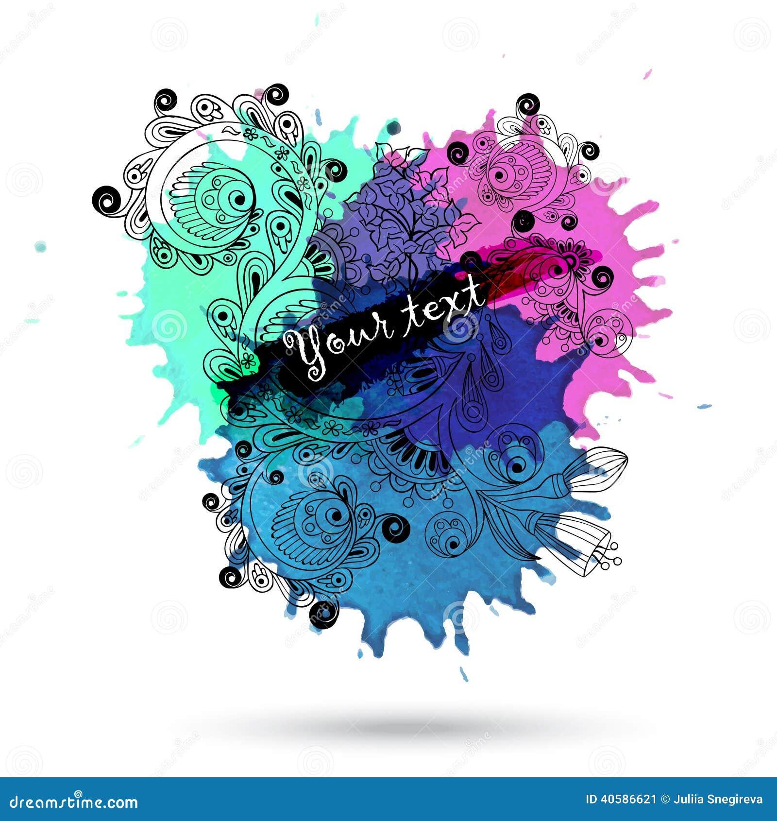 Дизайн конспекта акварели вектора с doodle