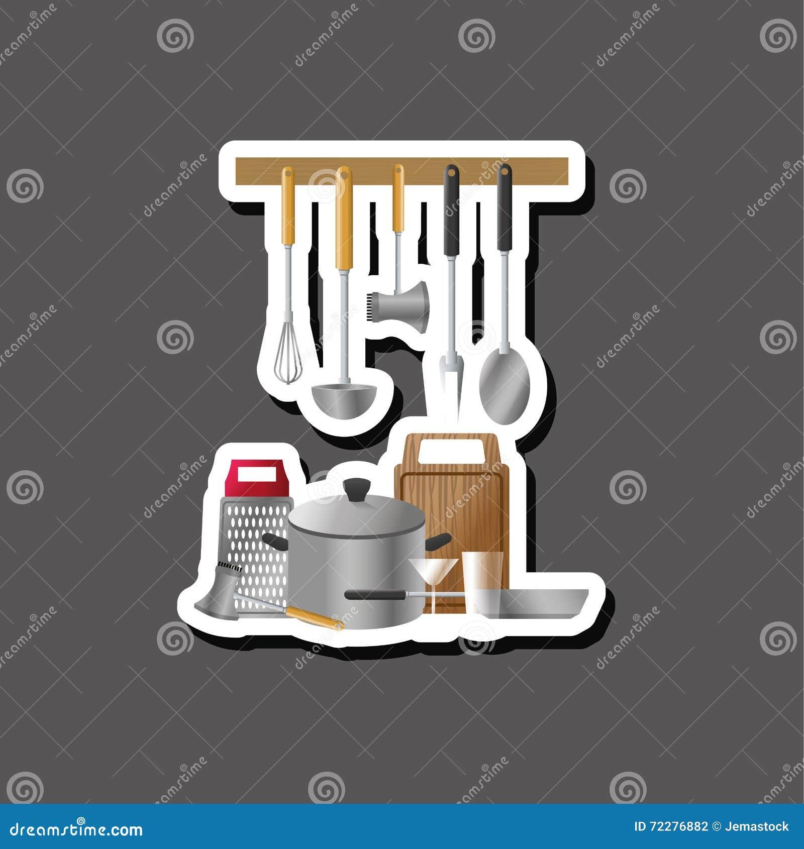 Download Дизайн кухни Поставляет значок белая предпосылка, иллюстрация вектора Иллюстрация вектора - иллюстрации насчитывающей молоток, инструмент: 72276882