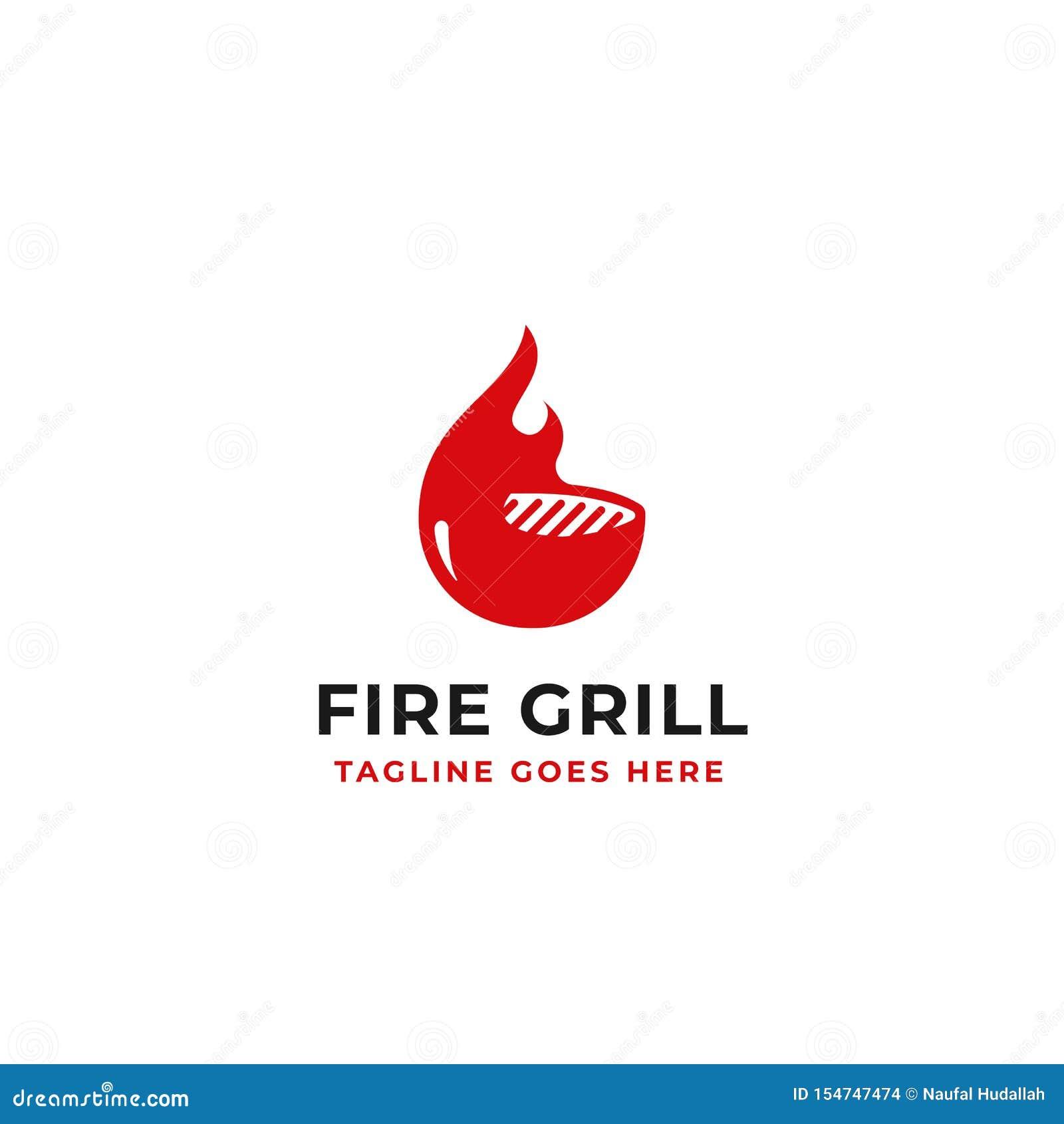 Дизайн логотипа гриля огня для иллюстрации вектора концепции образа бренда ресторана говядины