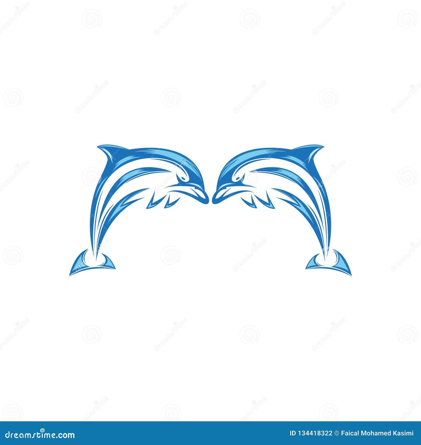 Дизайн логотипа дельфина 2019 Новых Годов