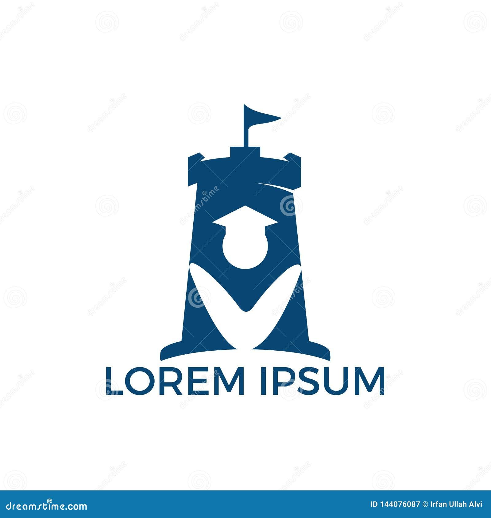 Дизайн логотипа комбинации студента и форта Башня и символ или значок рынка