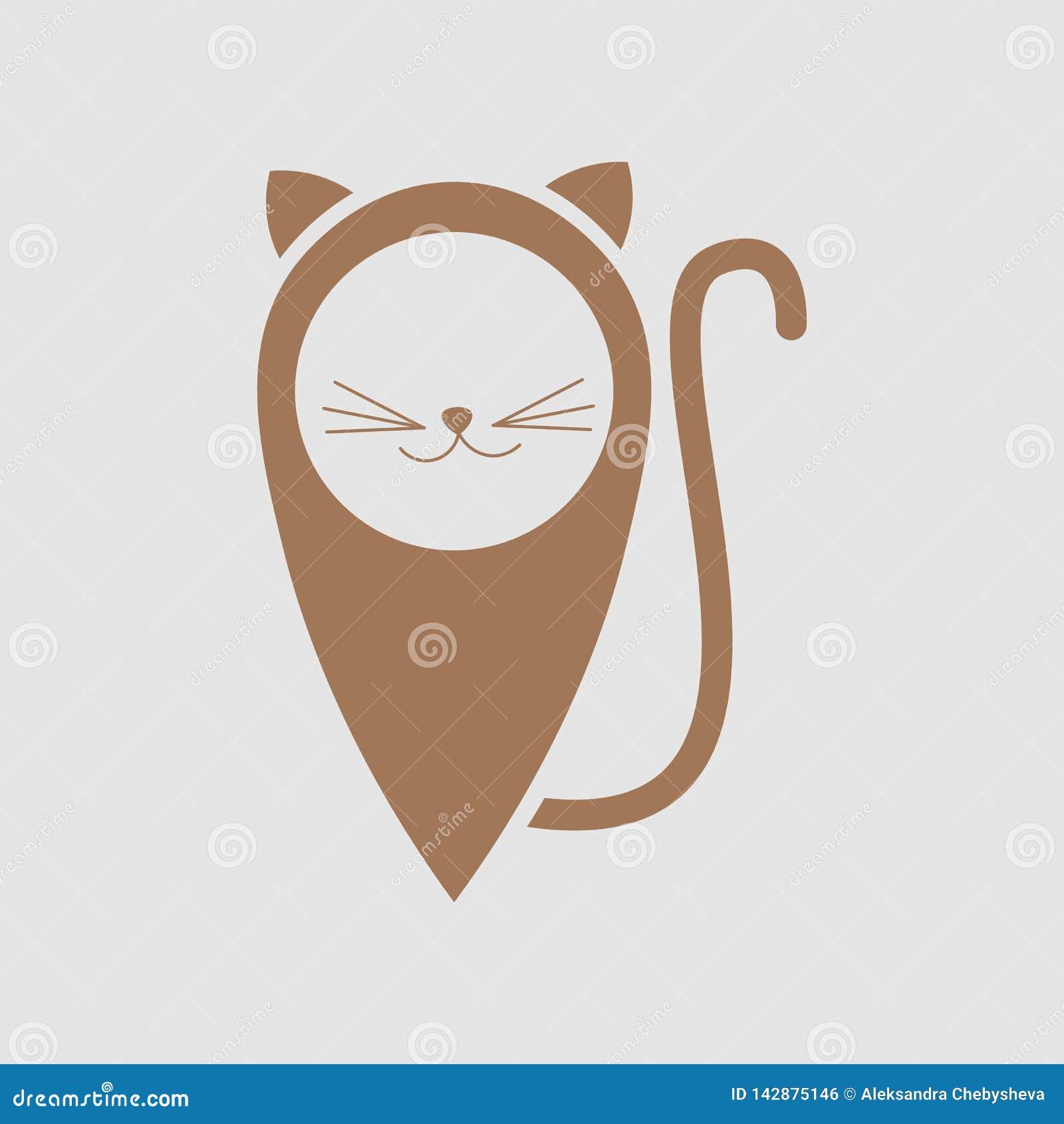Дизайн логотипа локатора кота Животный значок места, дизайн эмблемы - иллюстрация вектора Кот любимца символа с отметкой положени