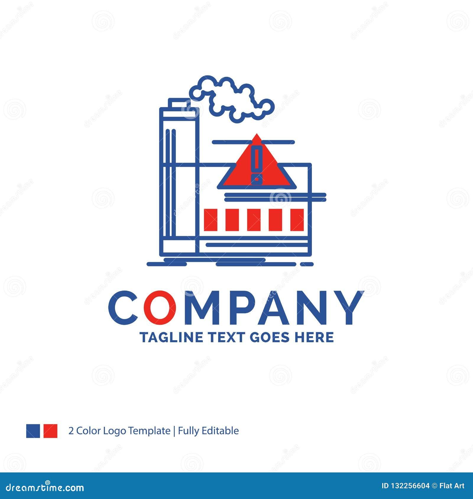 Дизайн логотипа названия фирмы для загрязнения, фабрики, воздуха, сигнала тревоги, ind