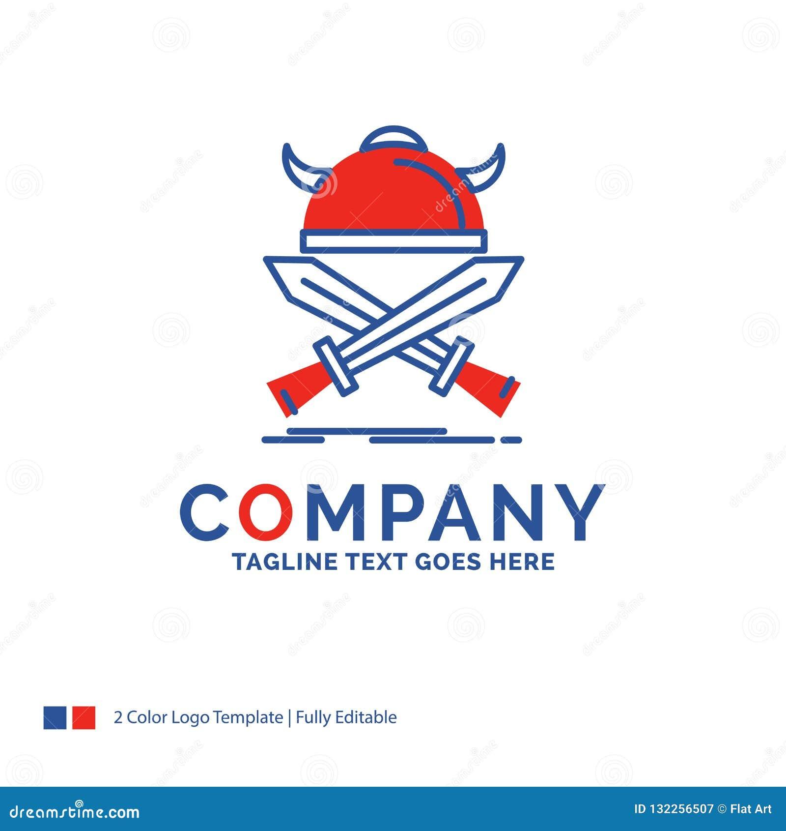 Дизайн логотипа названия фирмы для сражения, эмблемы, Викинга, воина, sw