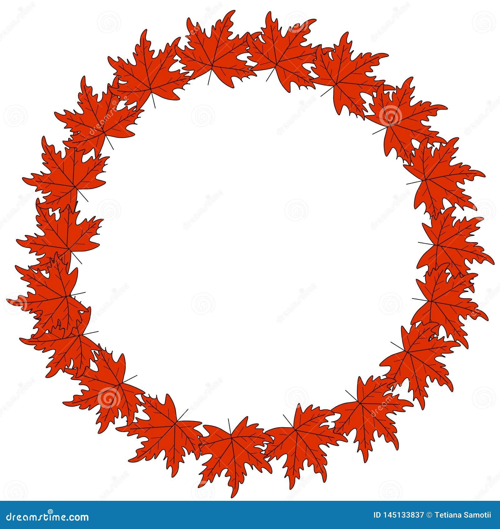 Дизайн логотипа осени сети венок осени, круглая рамка покрашенных листьев осени и ягоды Элементы флористического дизайна