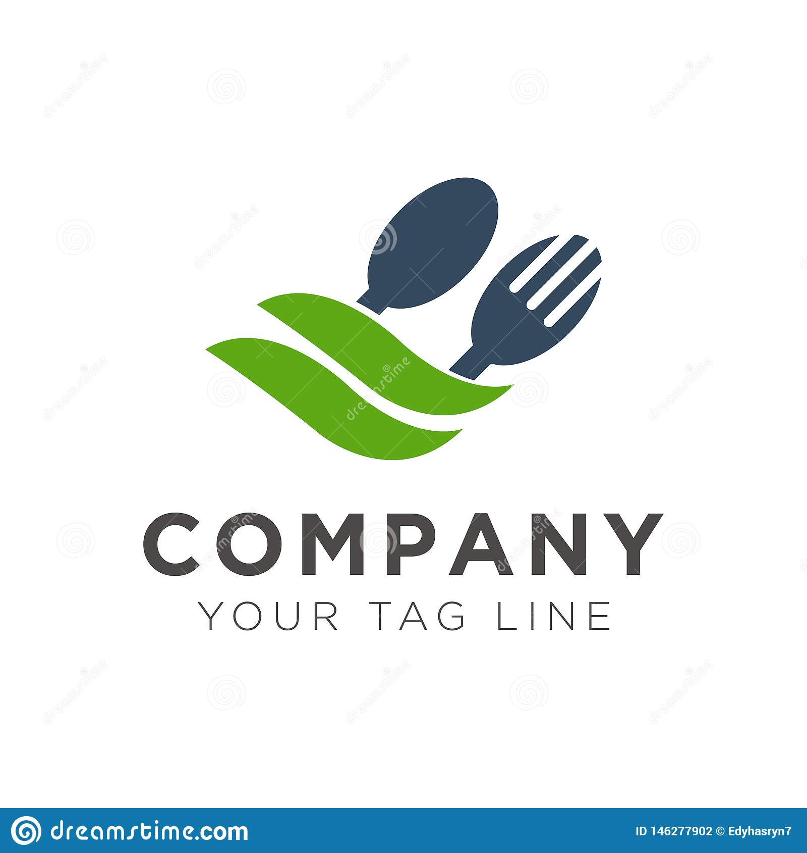 Дизайн логотипа ресторана вилки и ложки с зелеными лист