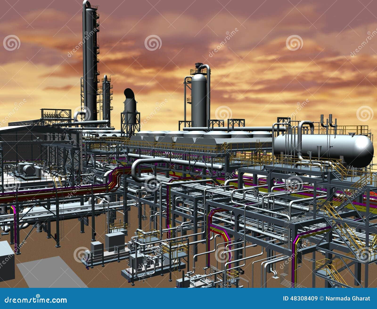 Дизайн модели масла & газового завода 3D