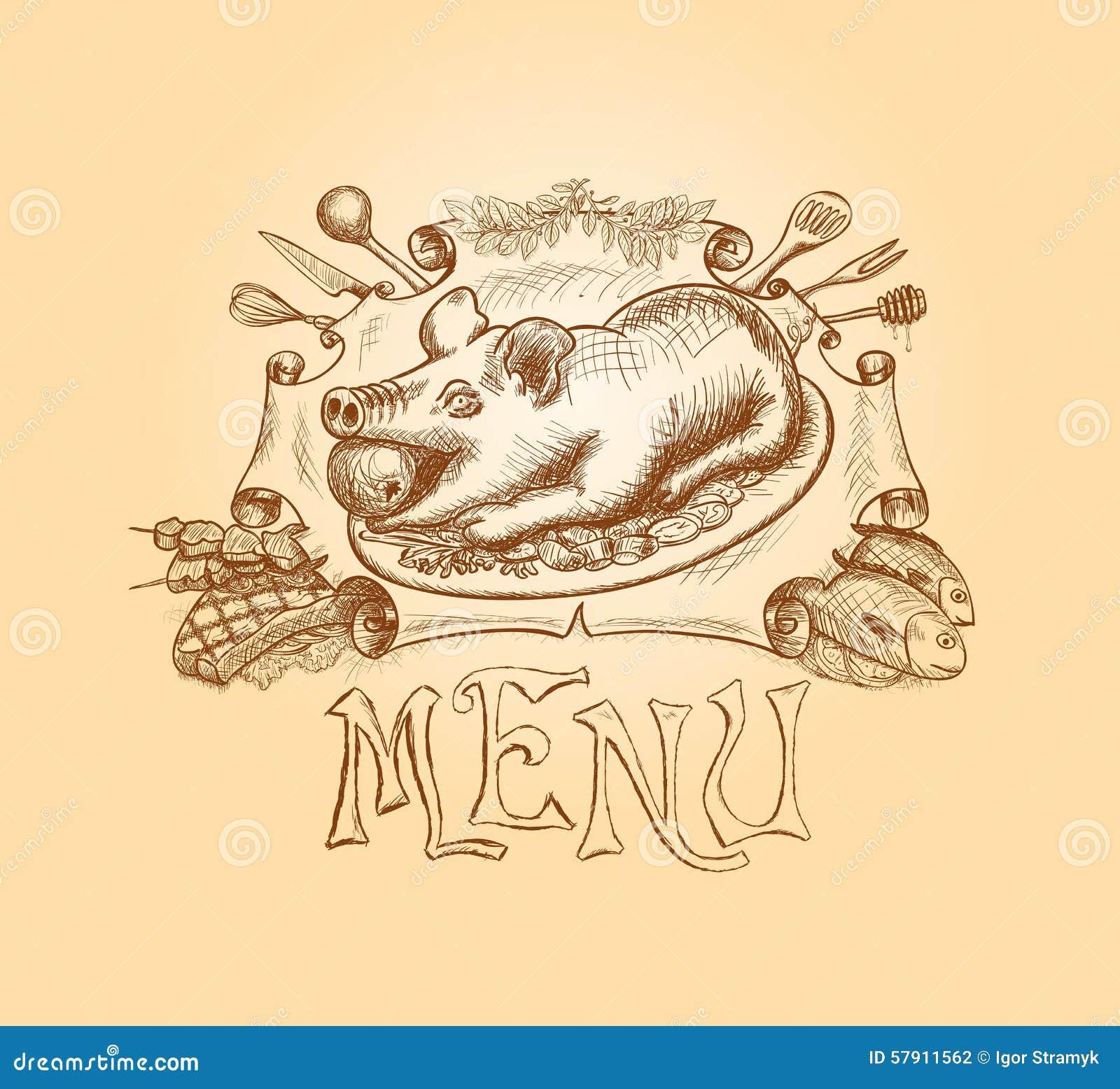 Дизайн названия меню вектора нарисованный рукой