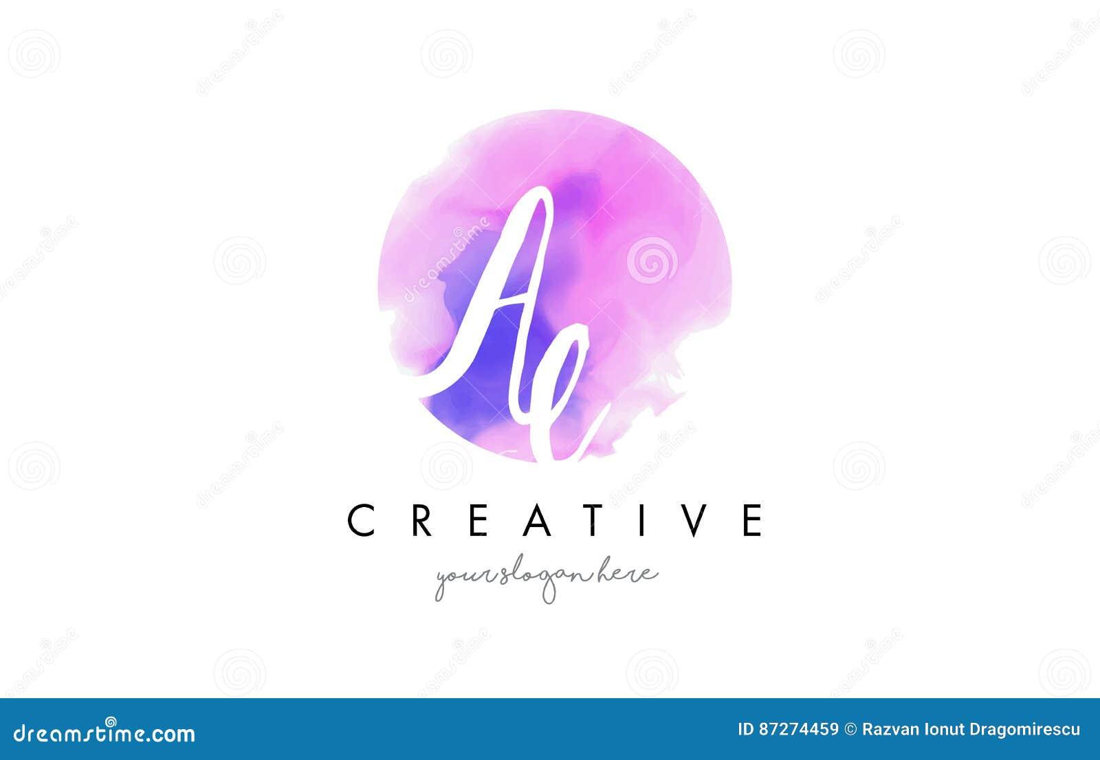 Дизайн логотипа письма акварели AE с фиолетовым ходом щетки