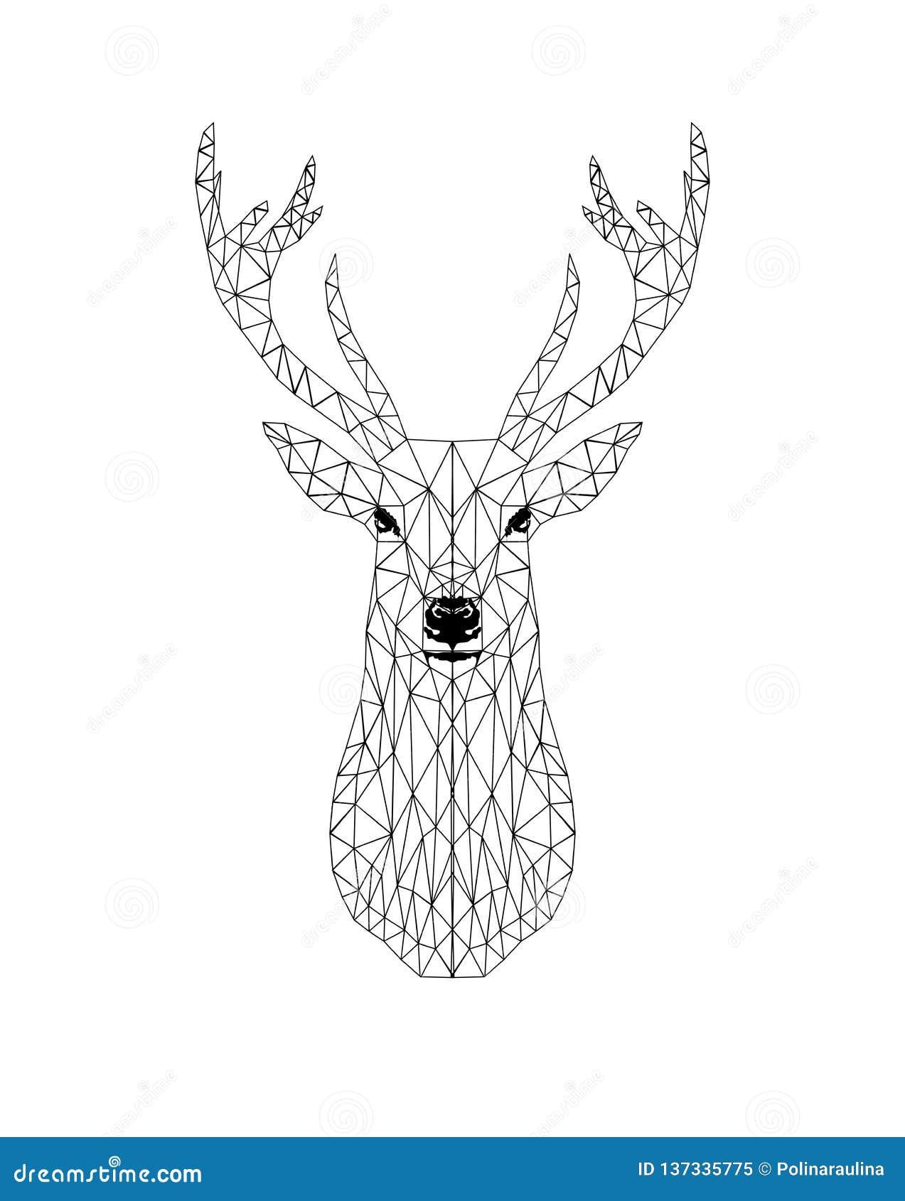 Дизайн оленей черноты Poligonal главный