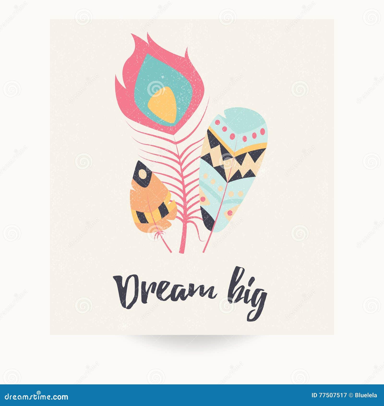 Дизайн открытки с вдохновляющей цитатой и богемскими красочными пер