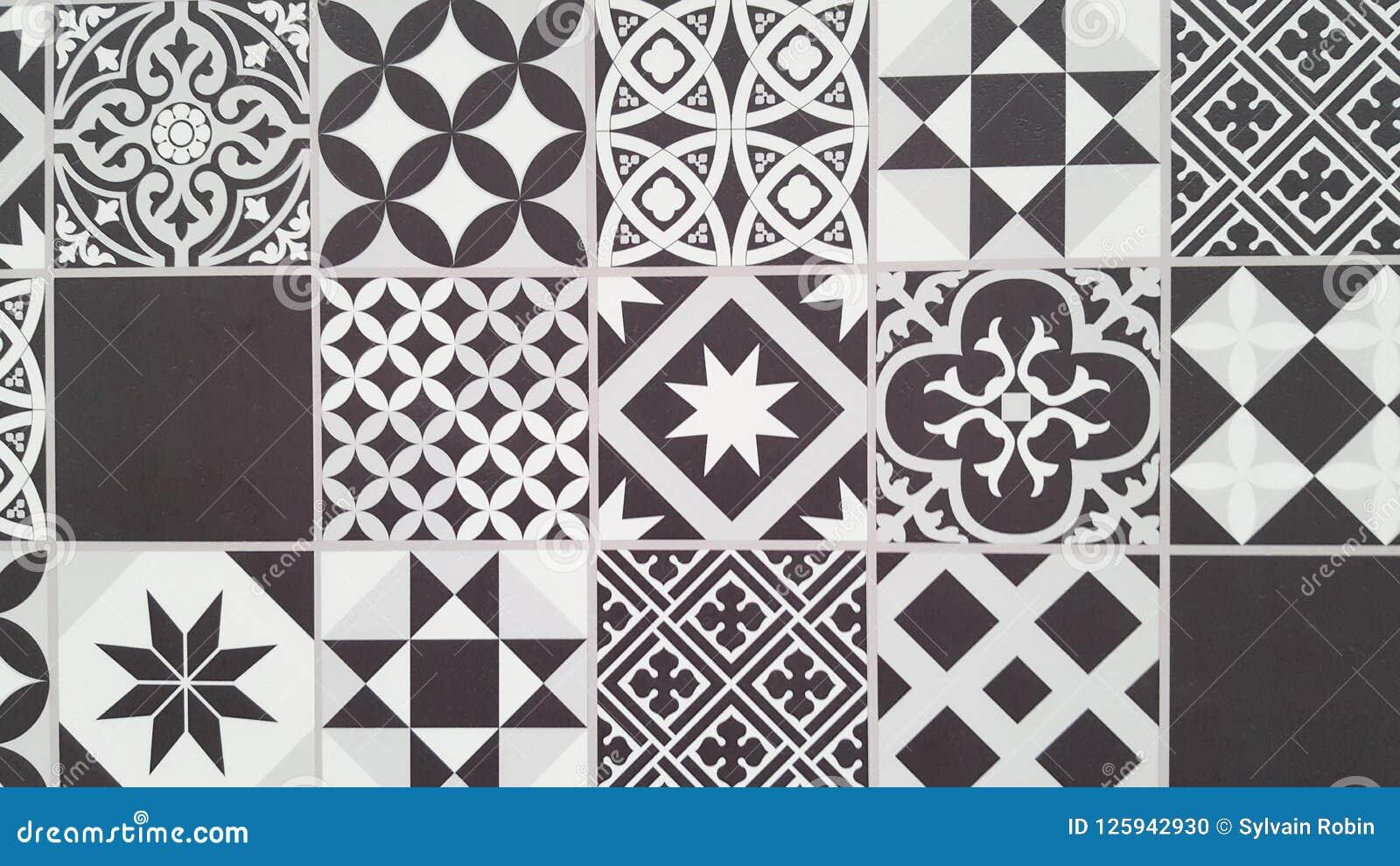 Дизайн плитки Лиссабона португальской картины плиток безшовный черно-белый в годе сбора винограда Azulejos геометрическом
