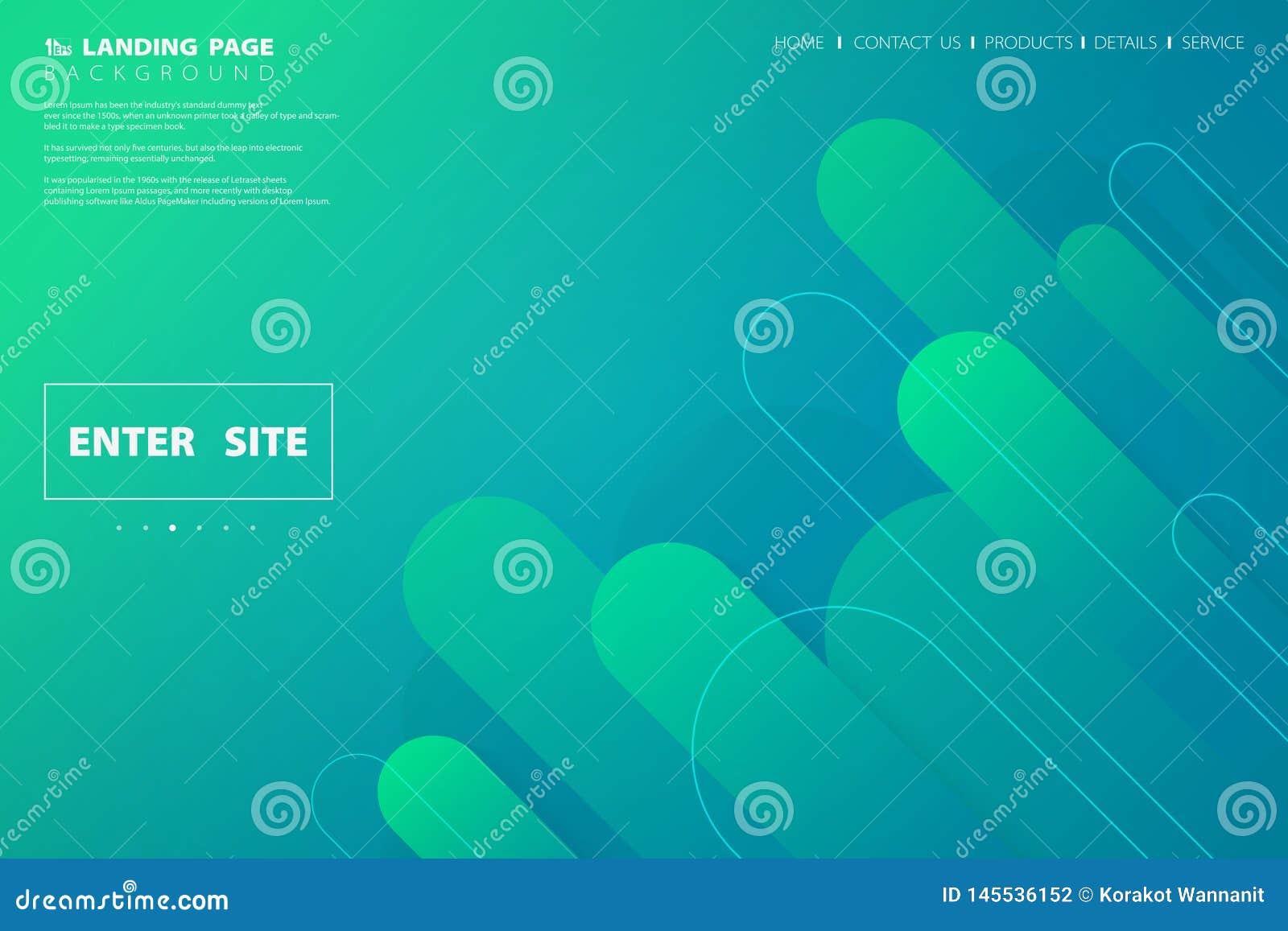 Дизайн страницы красочной зеленой голубой сети конспекта приземляясь геометрический E