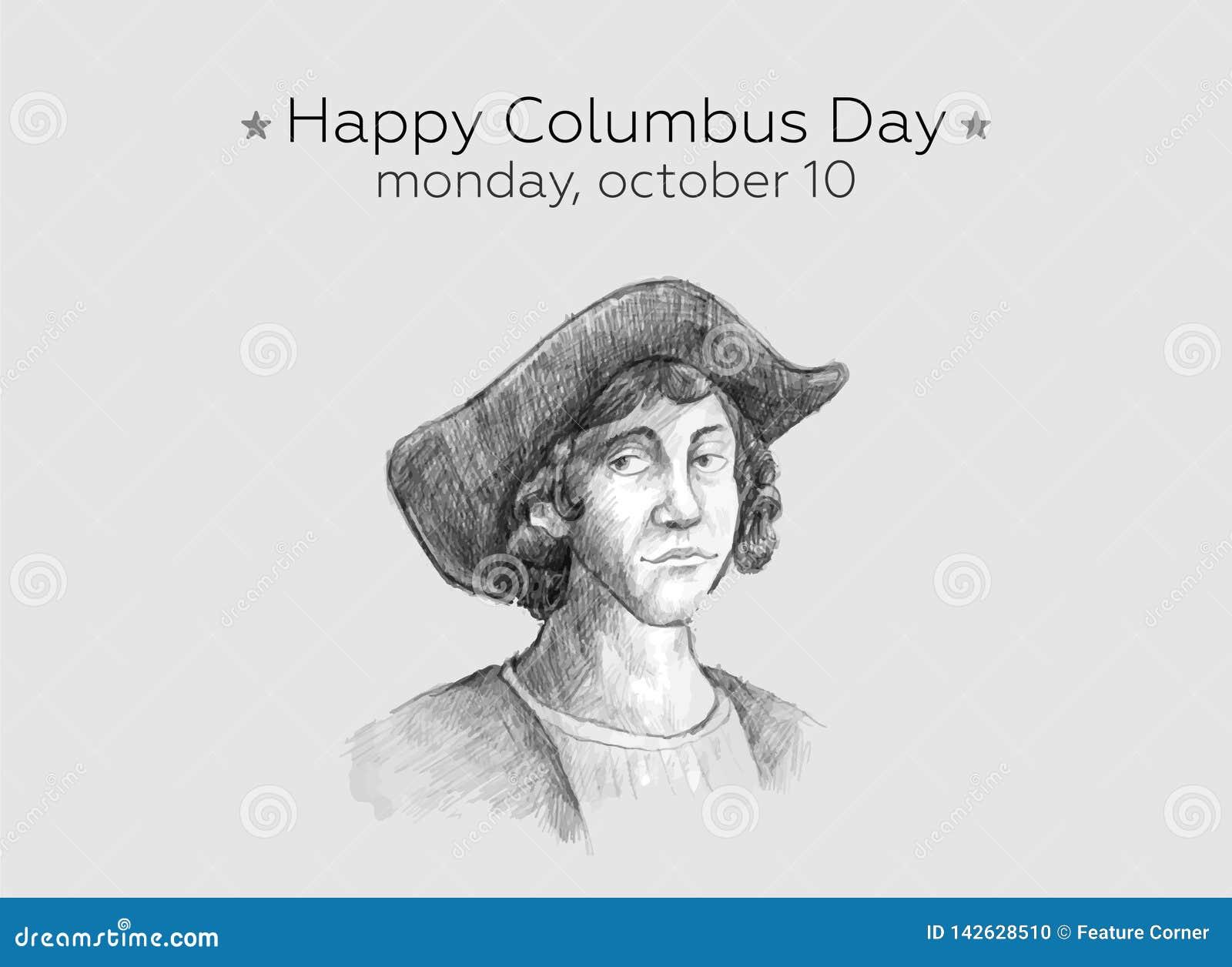 Дизайн счастливого вектора идеи проекта дня Колумбус плоский Счастливые приветствия дня Колумбус или знамя или открытка или плака