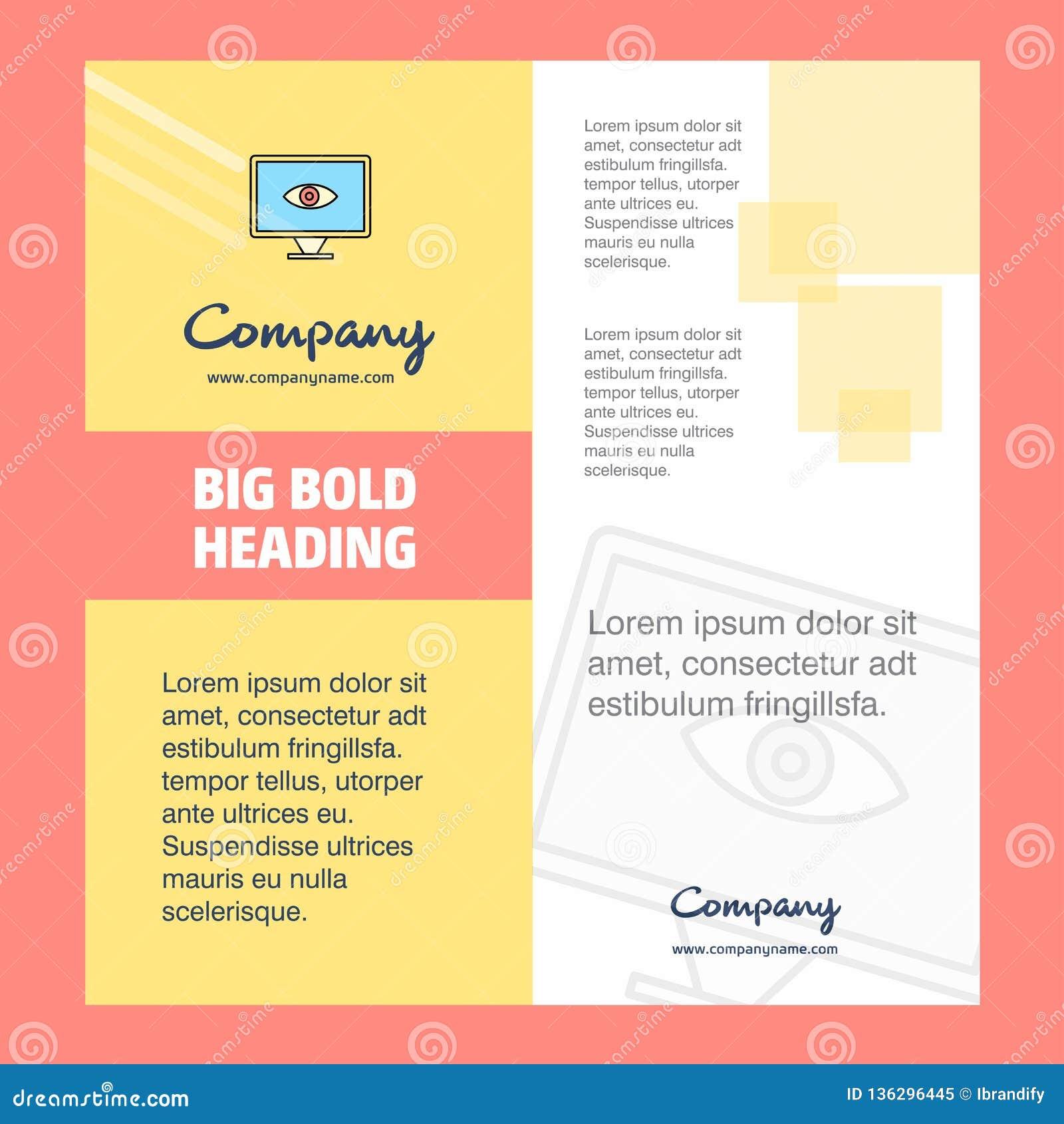 Дизайн титульного листа брошюры компании глаза Направление компании, годовой отчет, представления, предпосылка вектора листовки