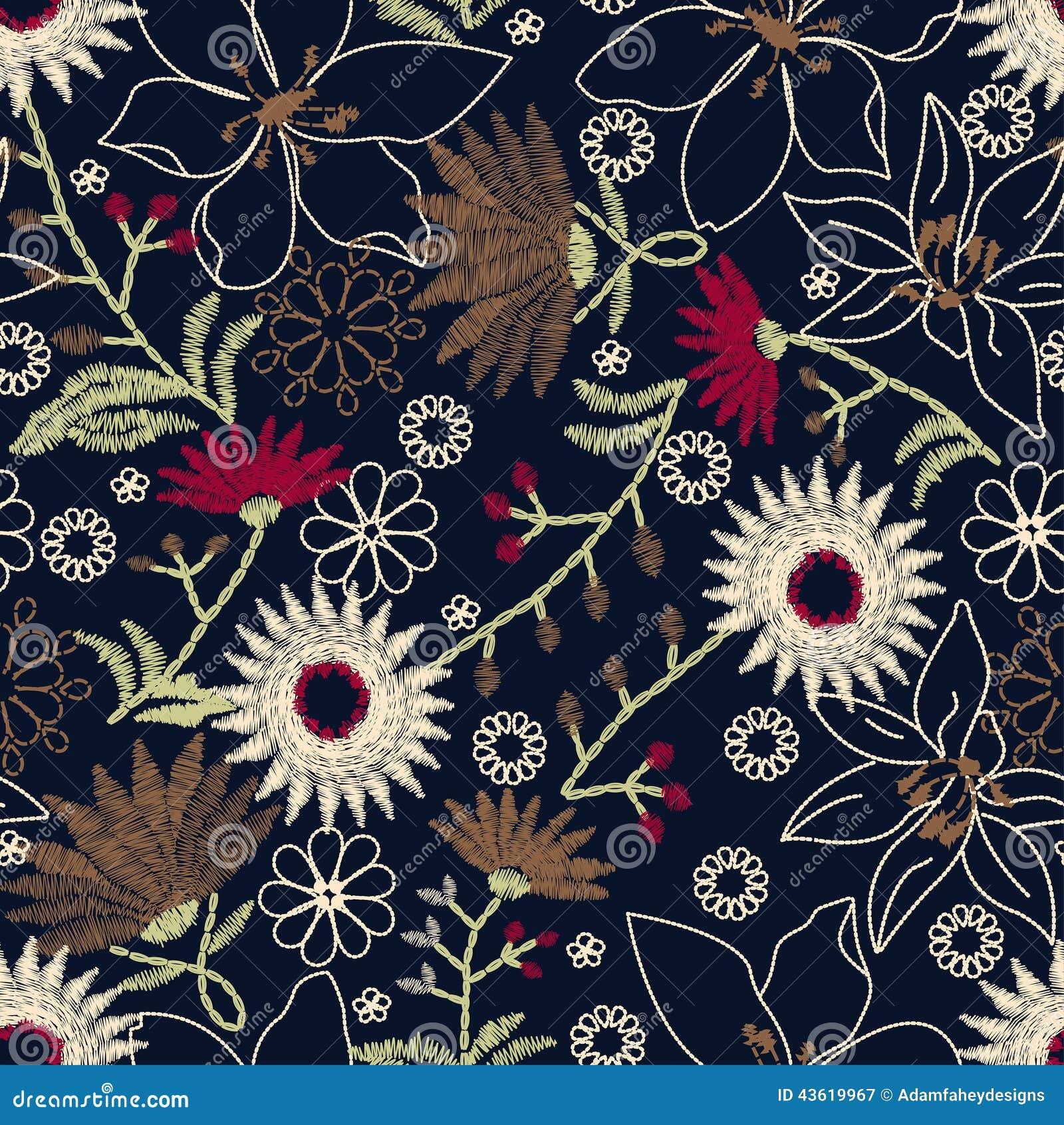 Дизайн тропической вышивки флористический в безшовной картине