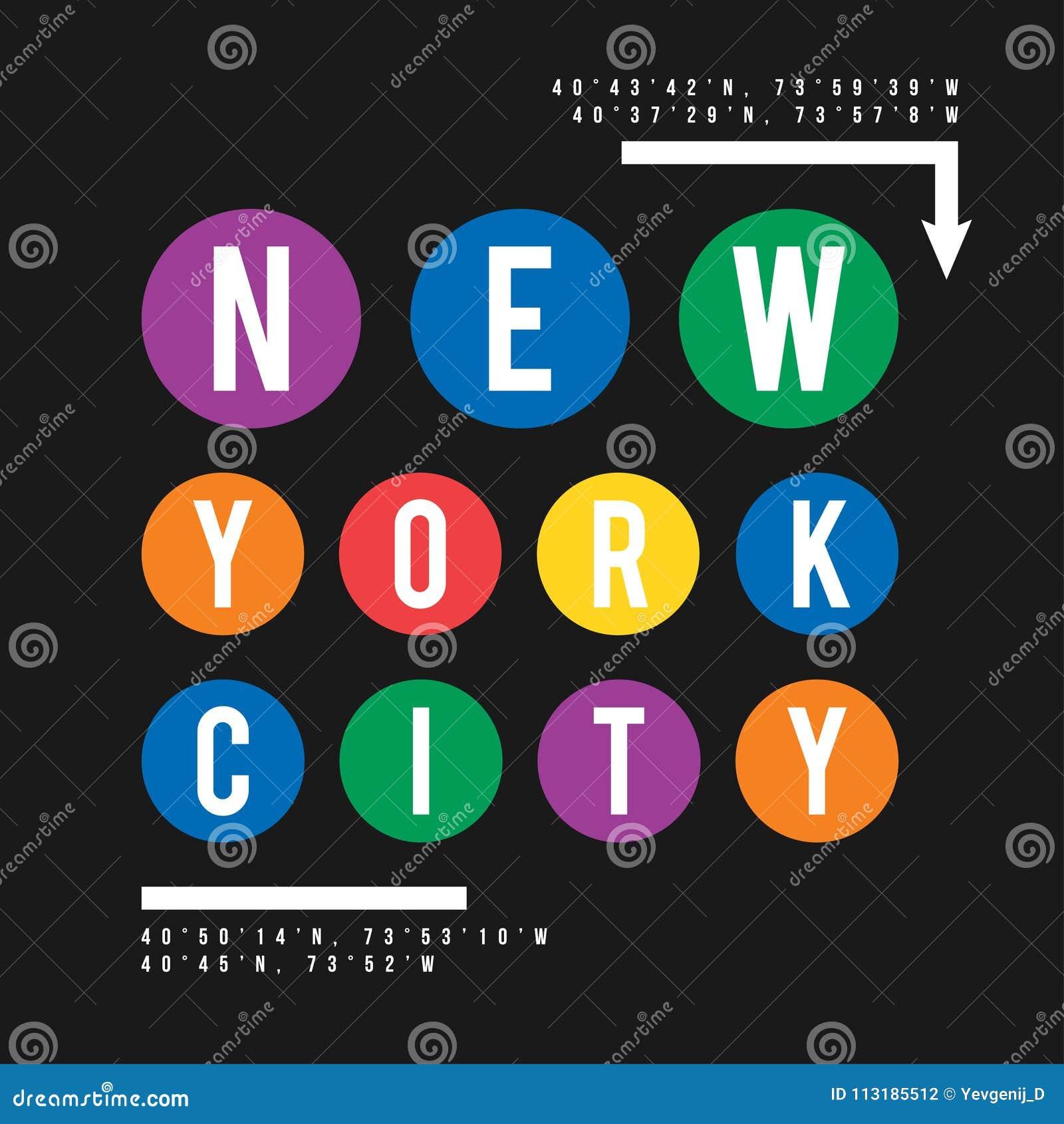 Дизайн футболки в концепции метро Нью-Йорка Холодное оформление с для печатью рубашки График футболки
