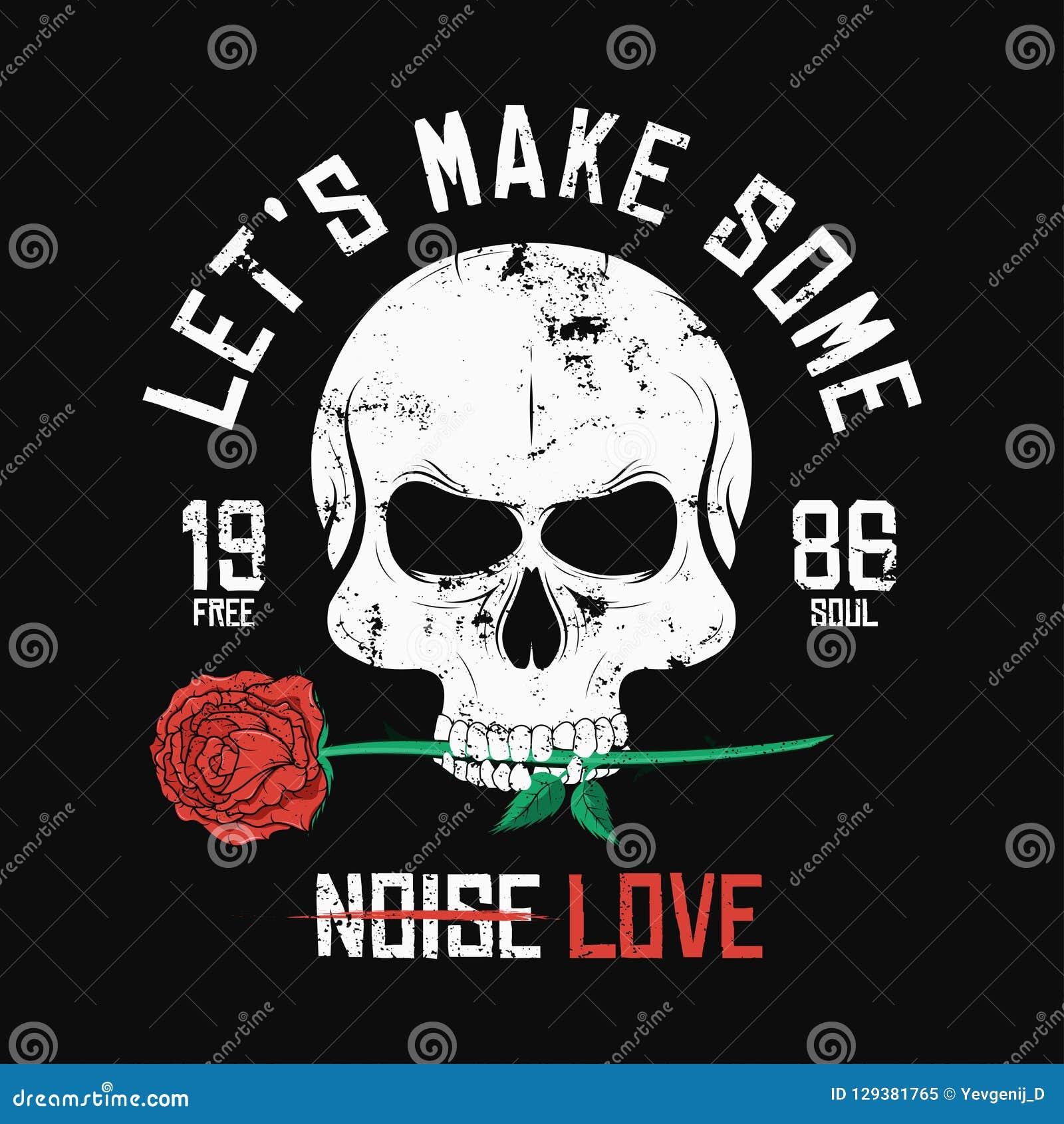 Дизайн футболки стиля рок-музыки Череп сдерживающ и держащ красную розу Винтажный график лозунга для печати футболки