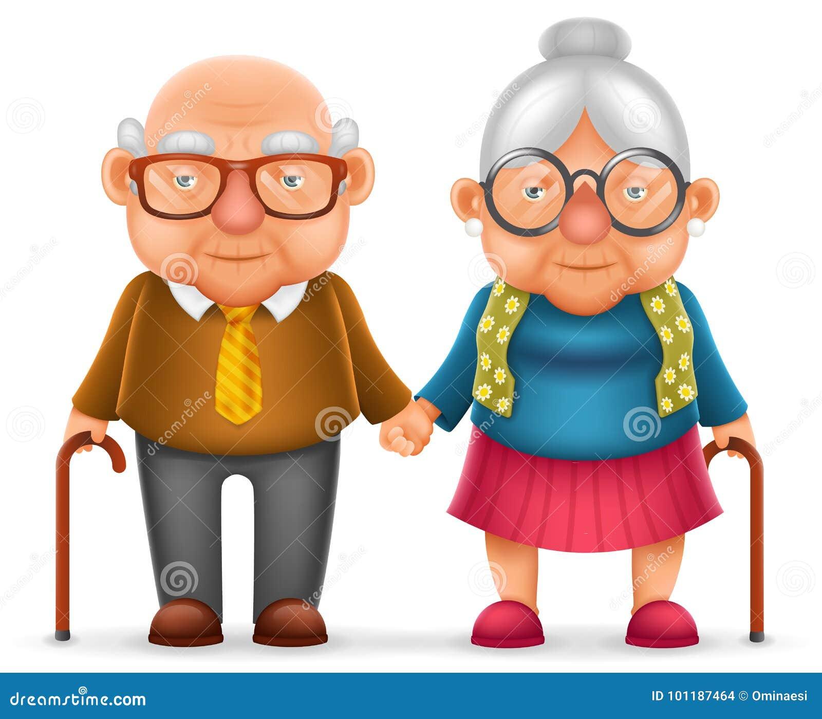 Дизайн характера семьи шаржа бабушки 3d деда женщины влюбленности старика пар милой улыбки счастливый пожилой реалистический