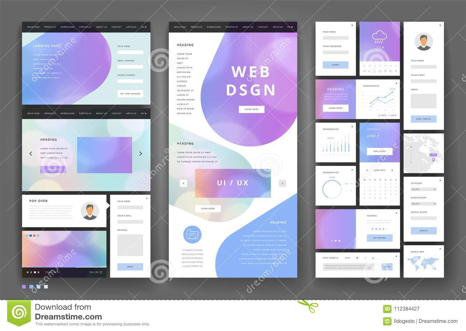 Дизайн шаблона вебсайта с элементами интерфейса