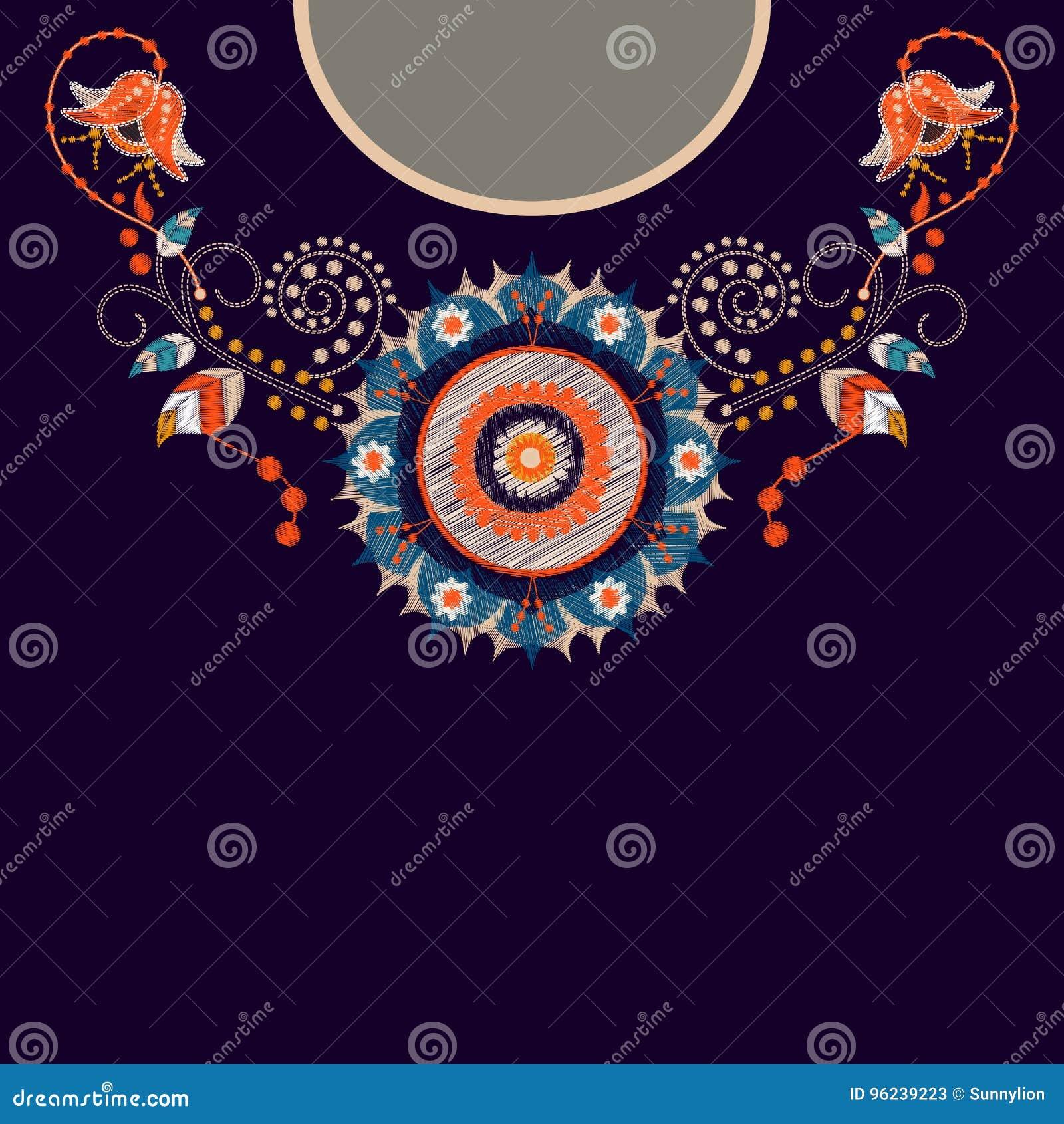 Дизайн шаблона вектора для рубашек воротника, блузок, футболки Вышивка цветет шея и геометрический орнамент paisley