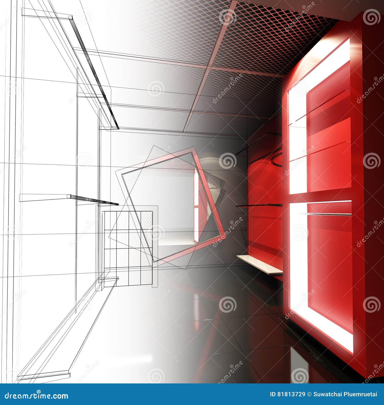 Дизайн эскиза внутреннего магазина