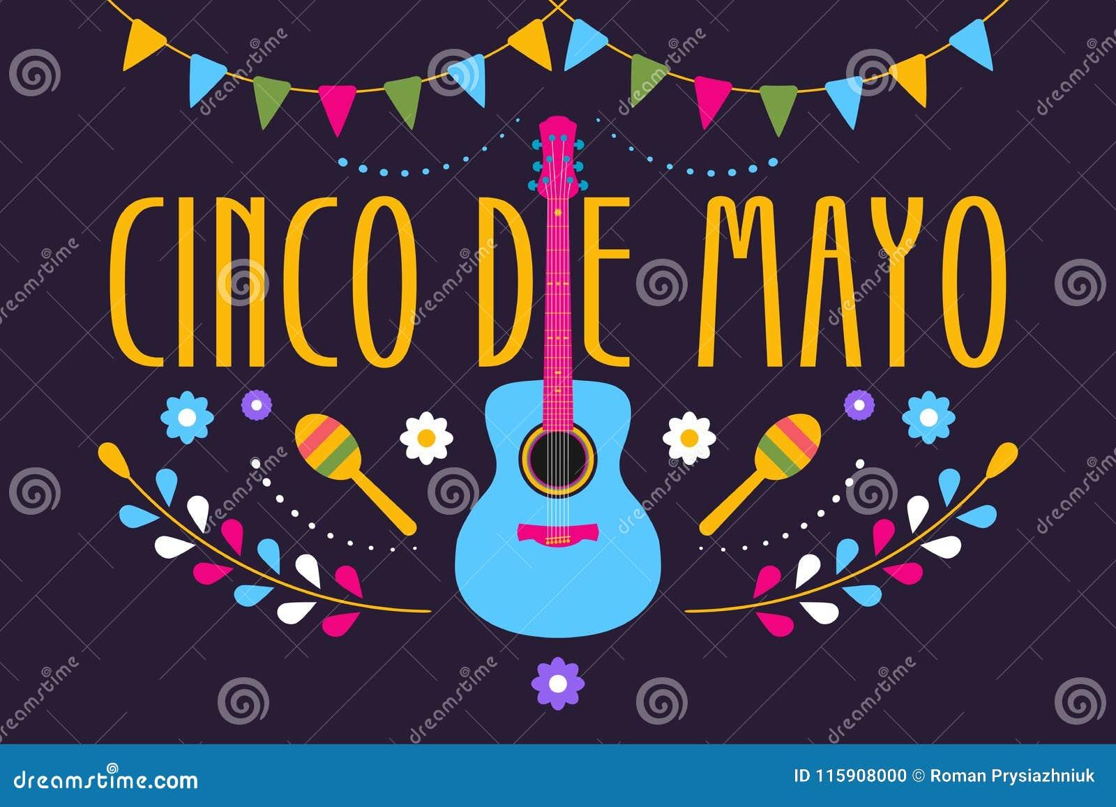 Дизайн Cinco de Mayo праздничный на мексиканский праздник Красочное знамя 5-ое мая в Мексике с гитарой, цветками, maraca и флагам