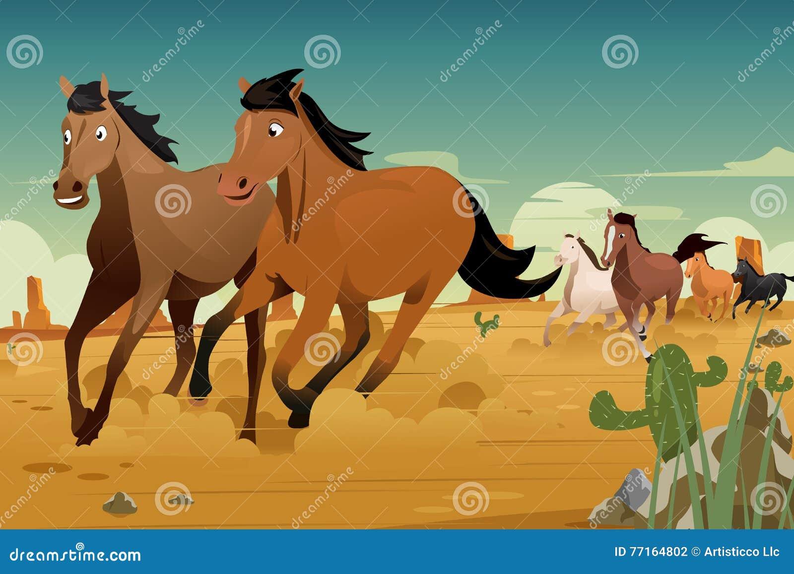 Дикие лошади бежать на пустыне