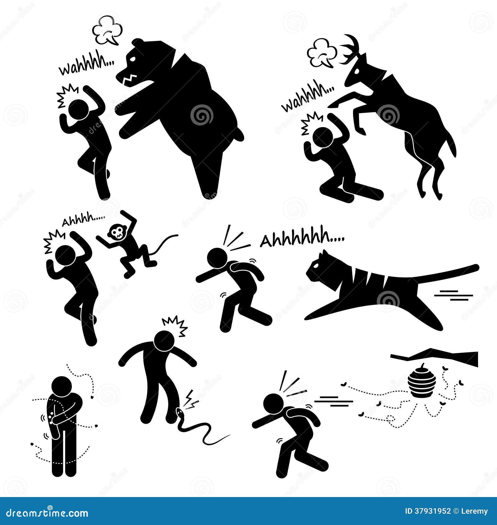 Дикое животное атакуя человеческий значок пиктограммы