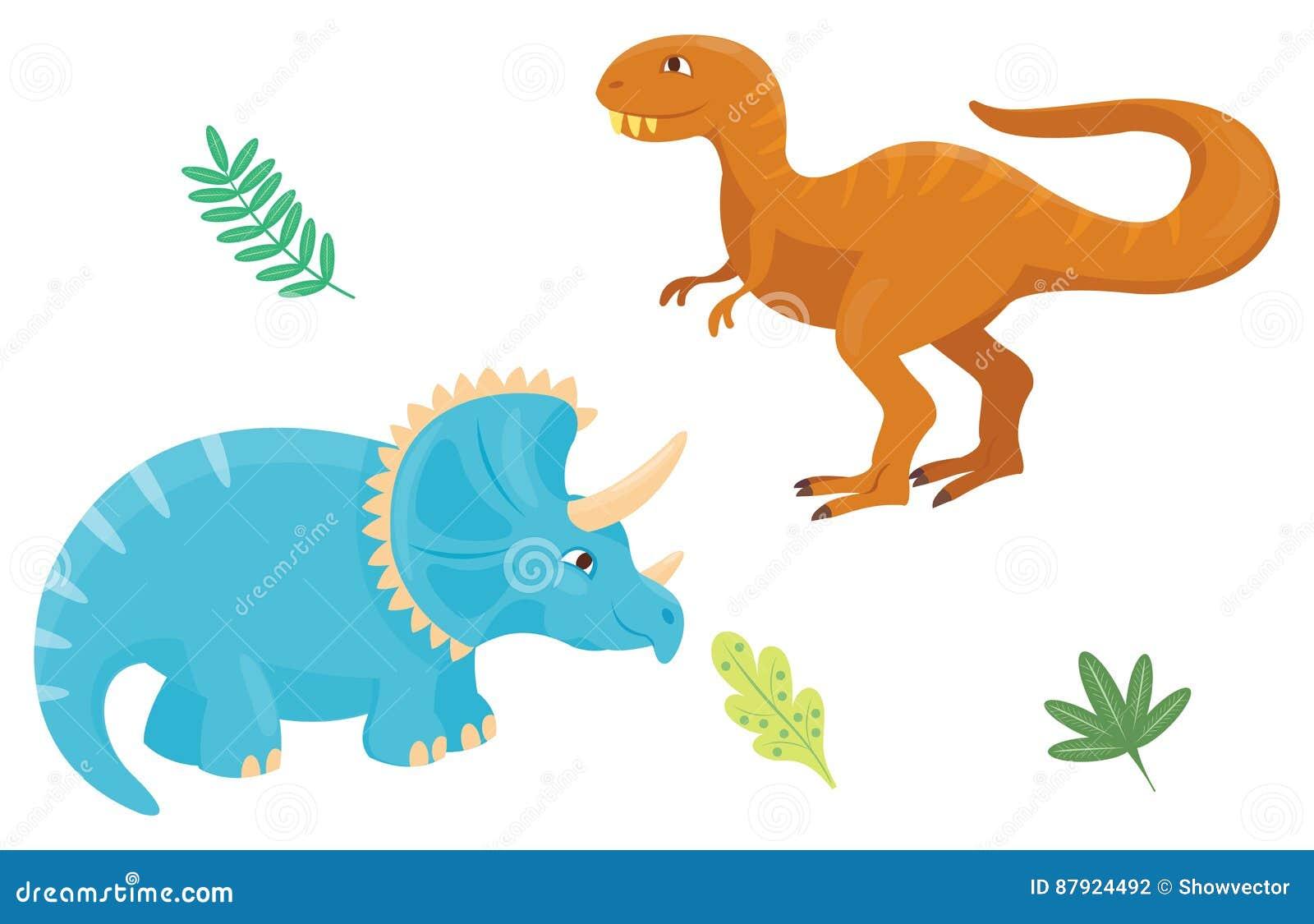 Динозавры шаржа vector изолированный иллюстрацией хищник гада характера dino изверга животный доисторический юрский