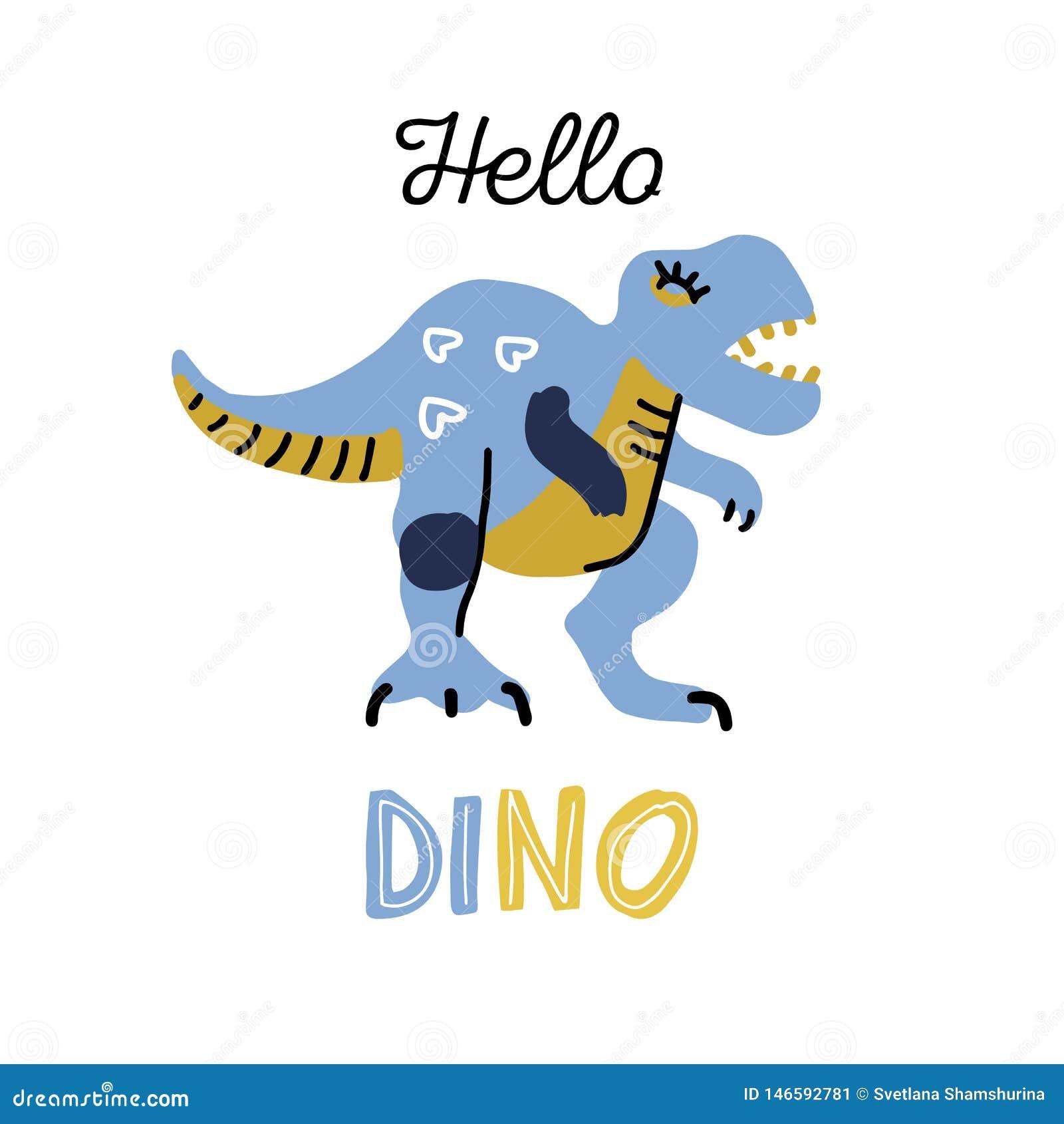 Динозавр мультфильма маленький Характер вектора милой руки цвета dino вычерченный Clipart T-rex плоское с помечать буквами qoute