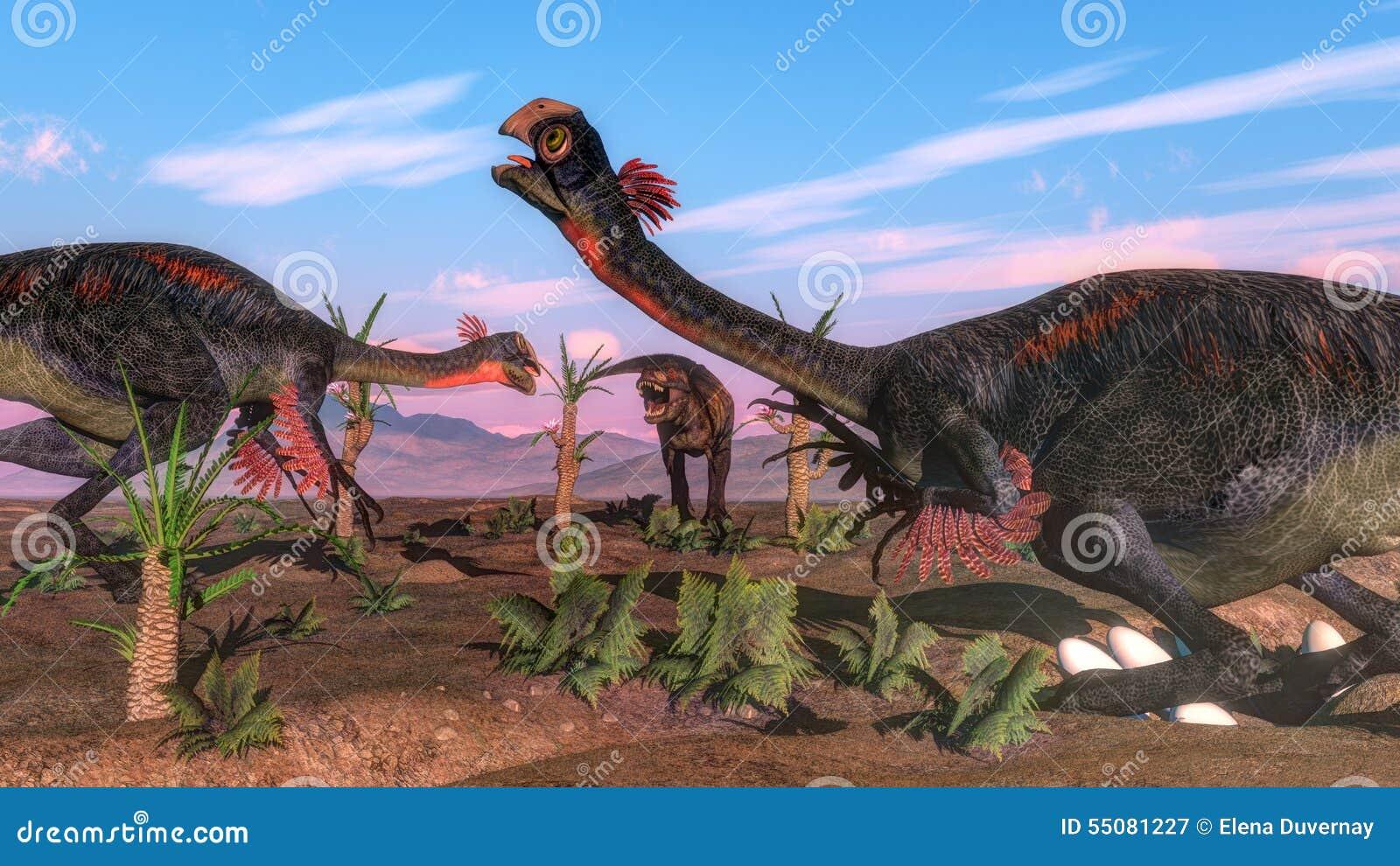 Динозавр gigantoraptor rex тиранозавра атакуя